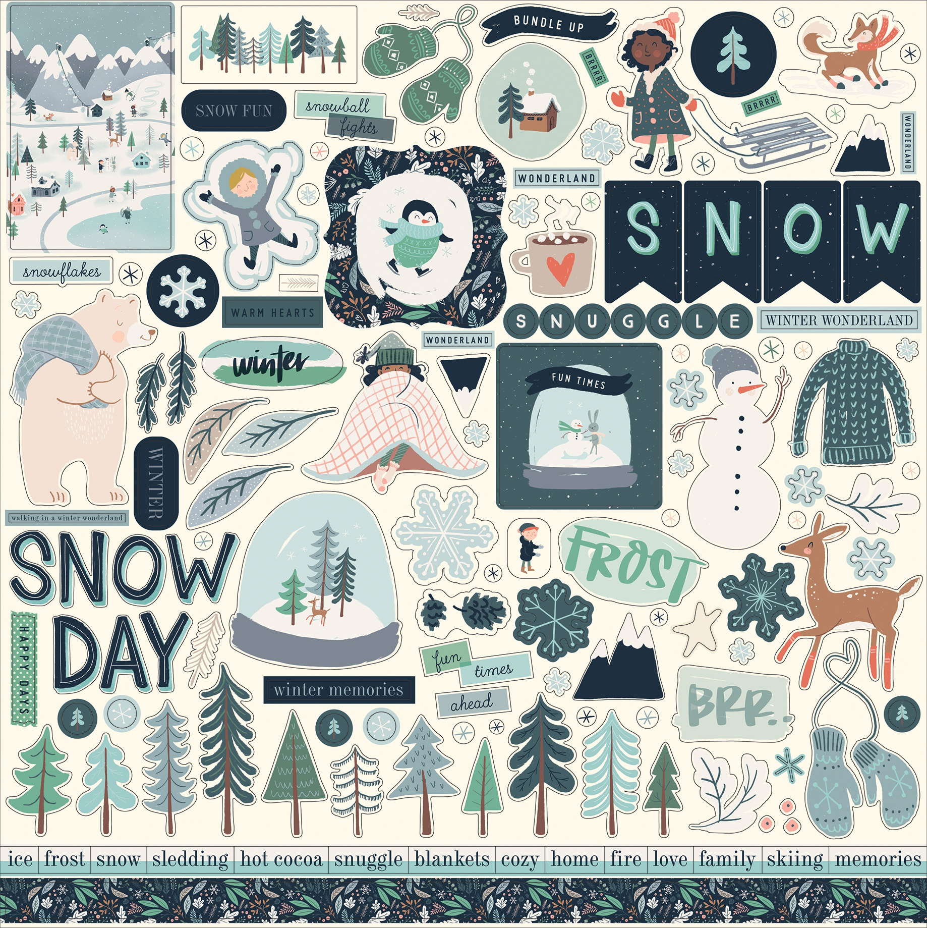 Snow Much Fun Cardstock Stickers 12X12-Elements
