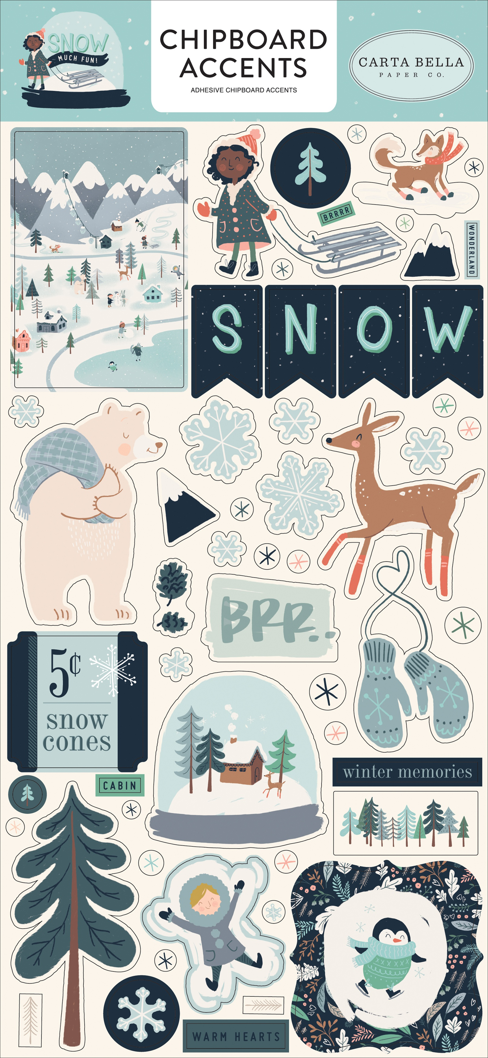 Snow Much Fun Chipboard 6X13-Accents