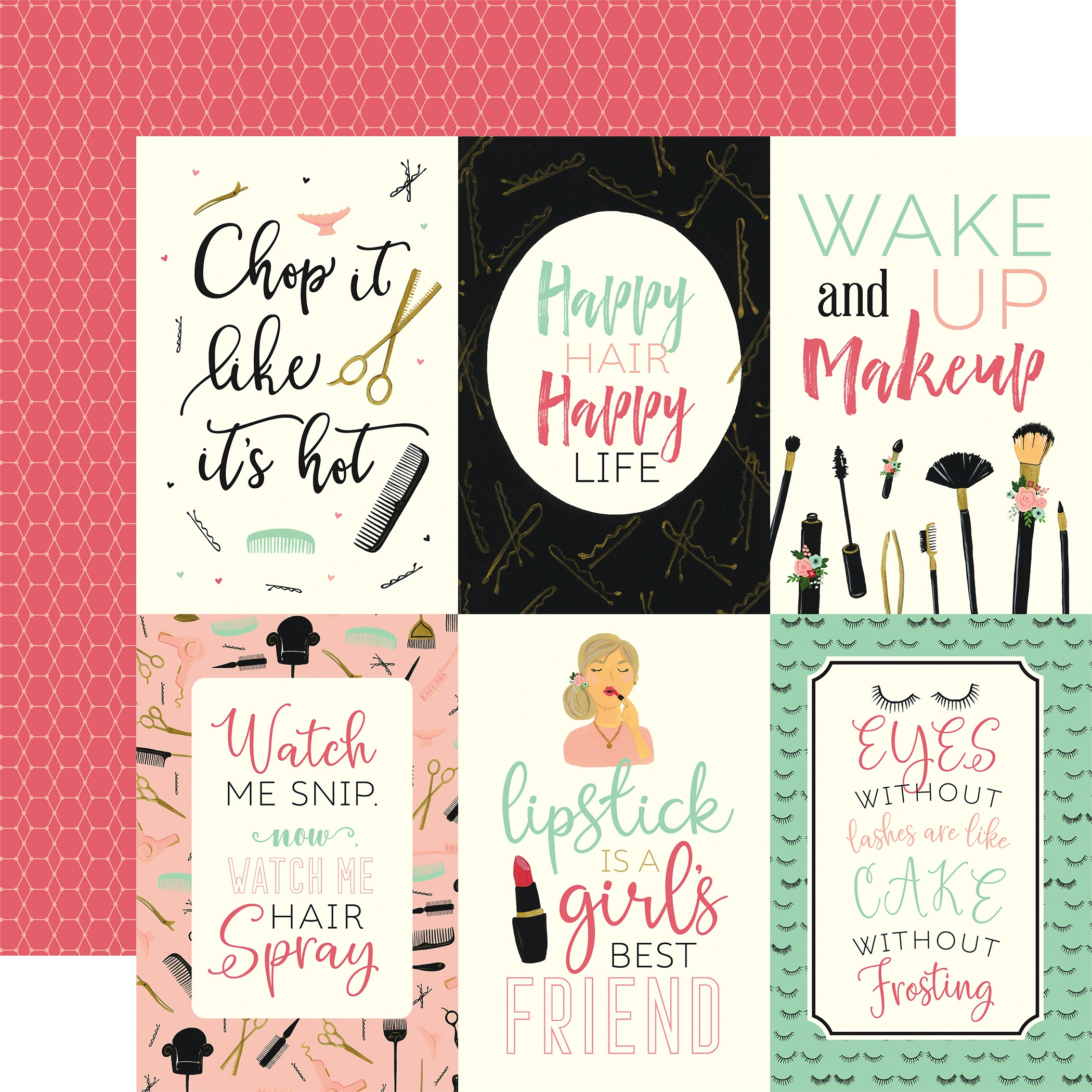 Salon Double-Sided Cardstock 12X12-4X6 Journaling Cards