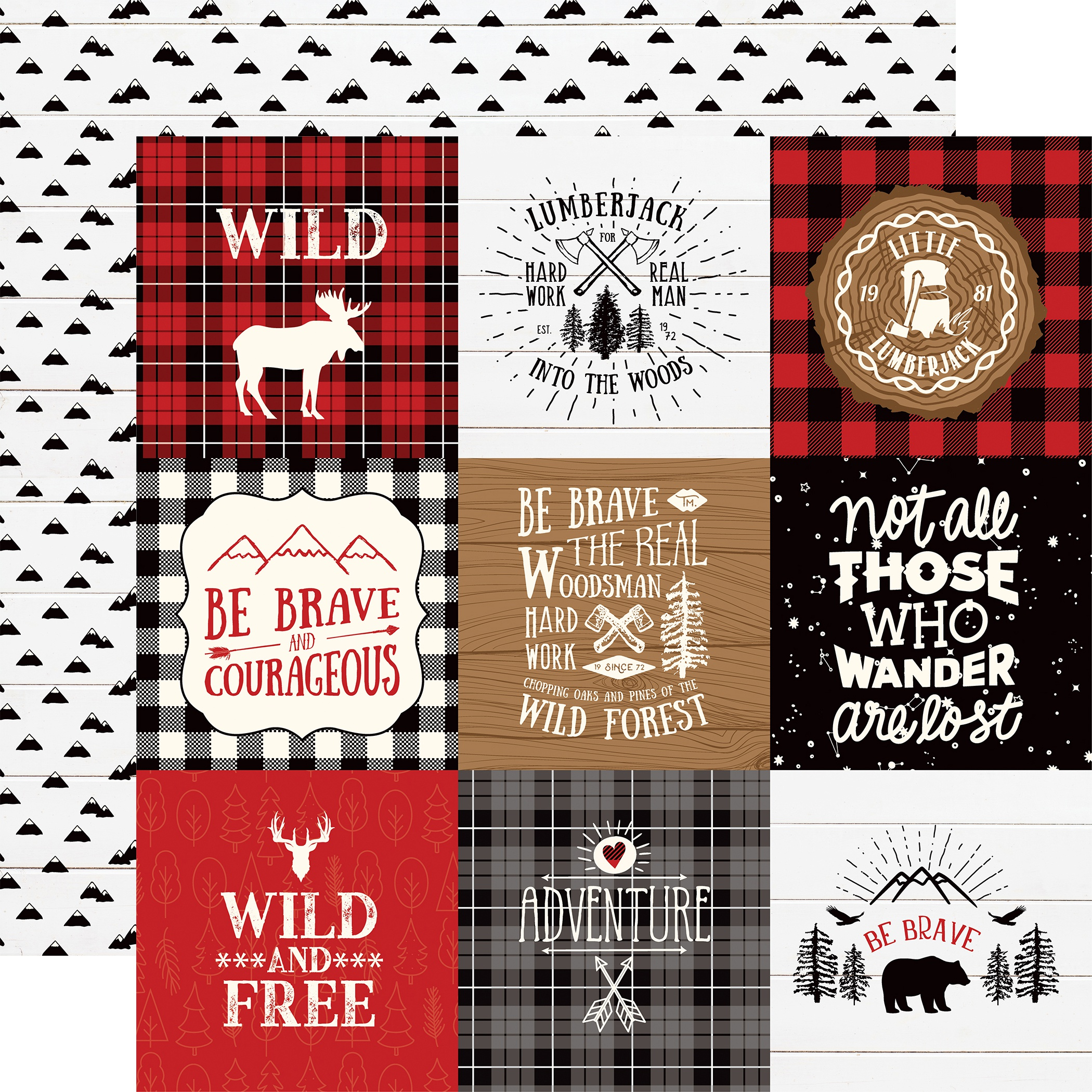 Little Lumberjack Double-Sided Cardstock 12X12-4X4 Journaling Cards