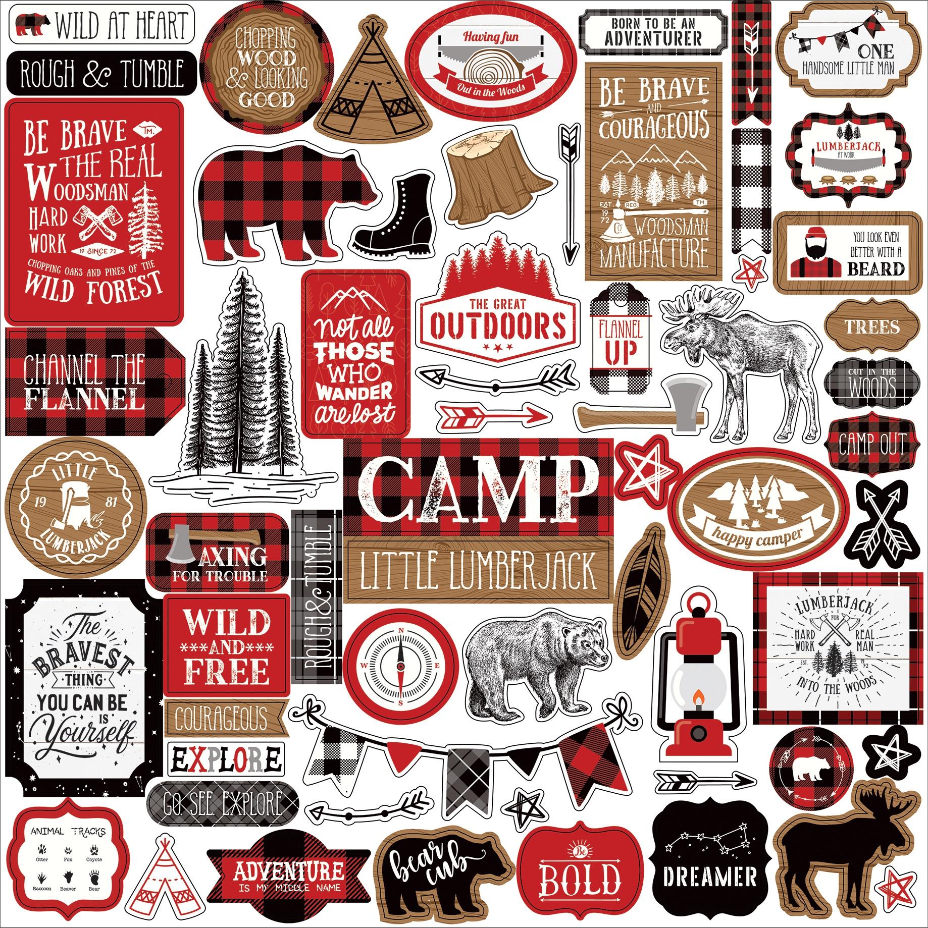 Little Lumberjack Cardstock Stickers 12X12-Elements