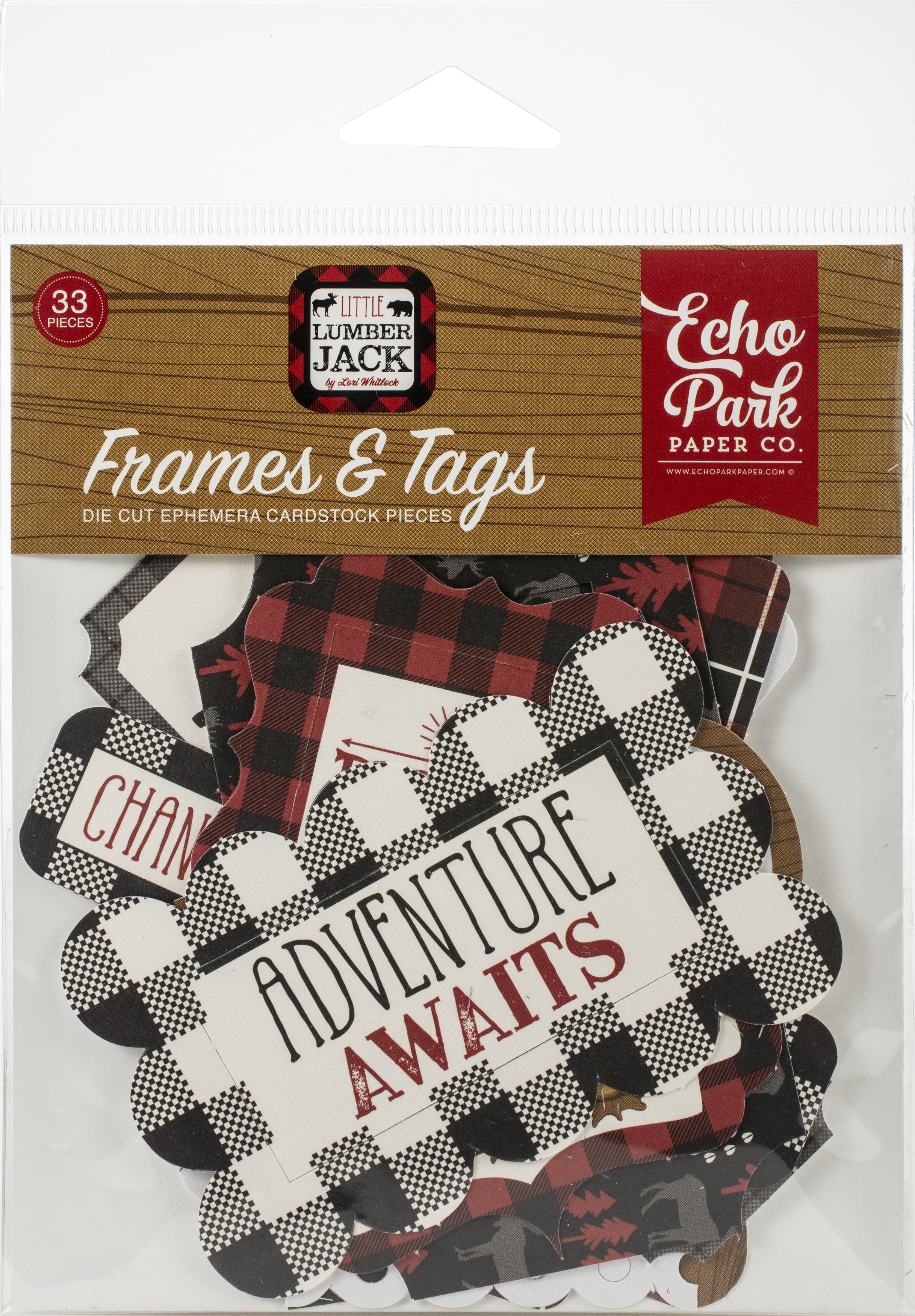 Echo Park Cardstock Ephemera 33/Pkg-Frames & Tags, Little Lumberjack