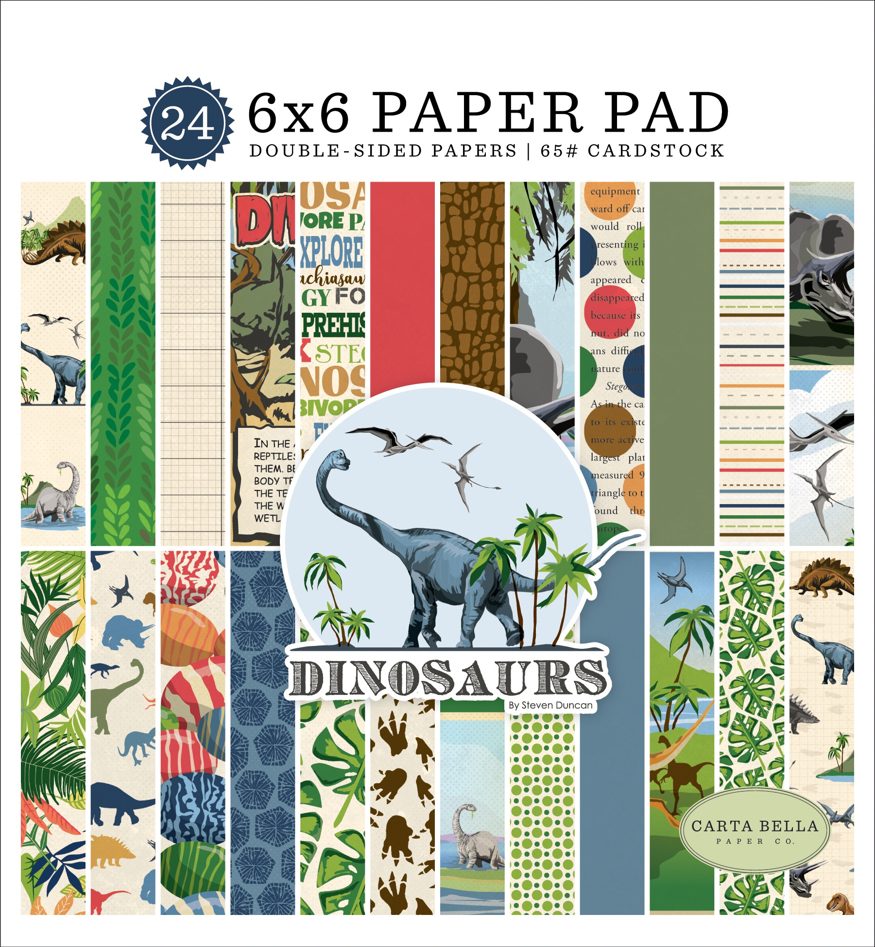 Carta Bella Double-Sided Paper Pad 6X6 24/Pkg-Dinosaurs, 12 Designs/2 Each