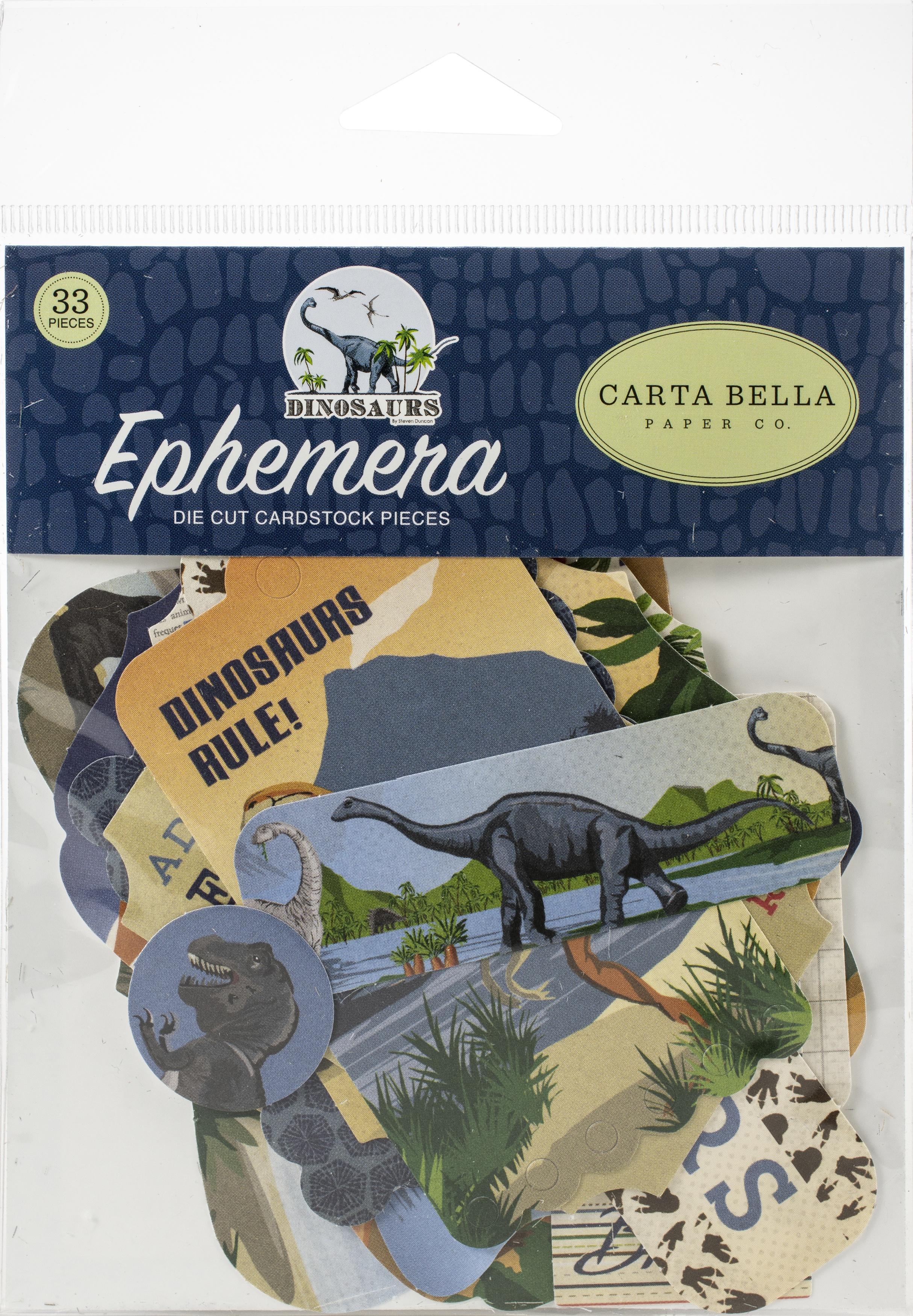 Carta Bella Cardstock Ephemera 33/Pkg-Icons, Dinosaurs