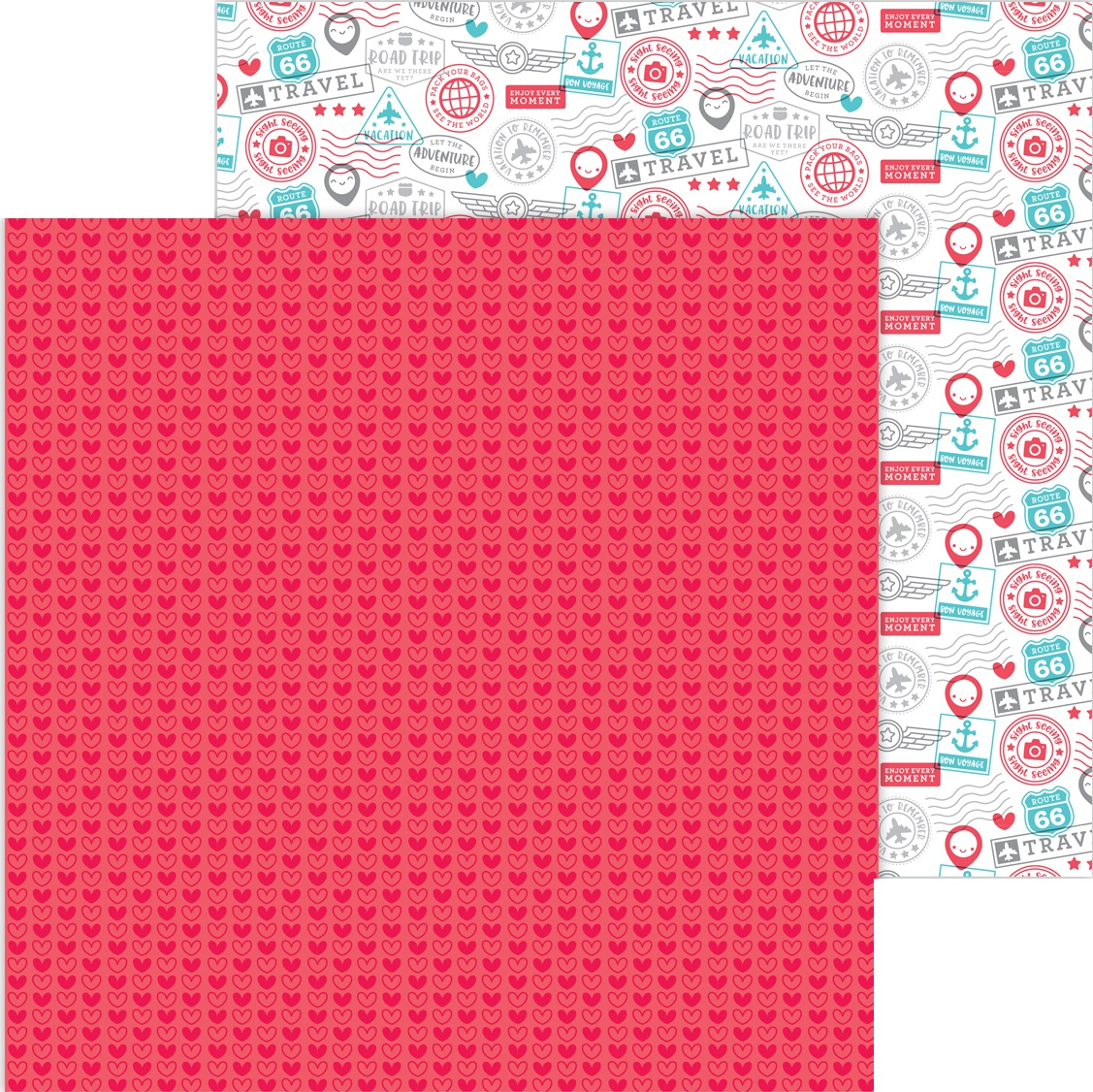 Doodlebug I Heart Travel - Love This - 12x12 Double-Sided Paper