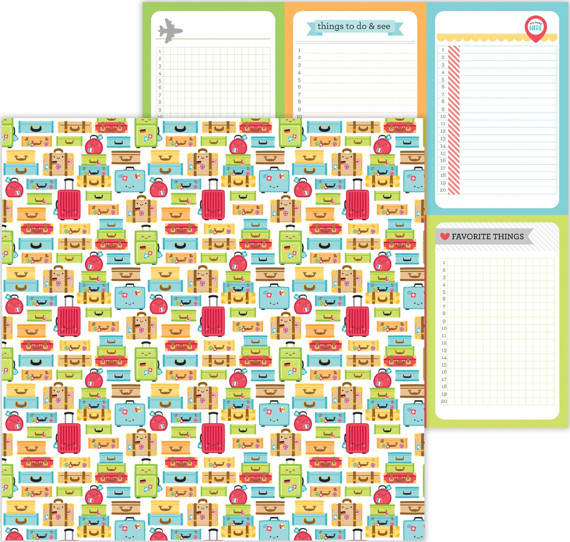 I Love Travel Luggage Double Sided Cardstock