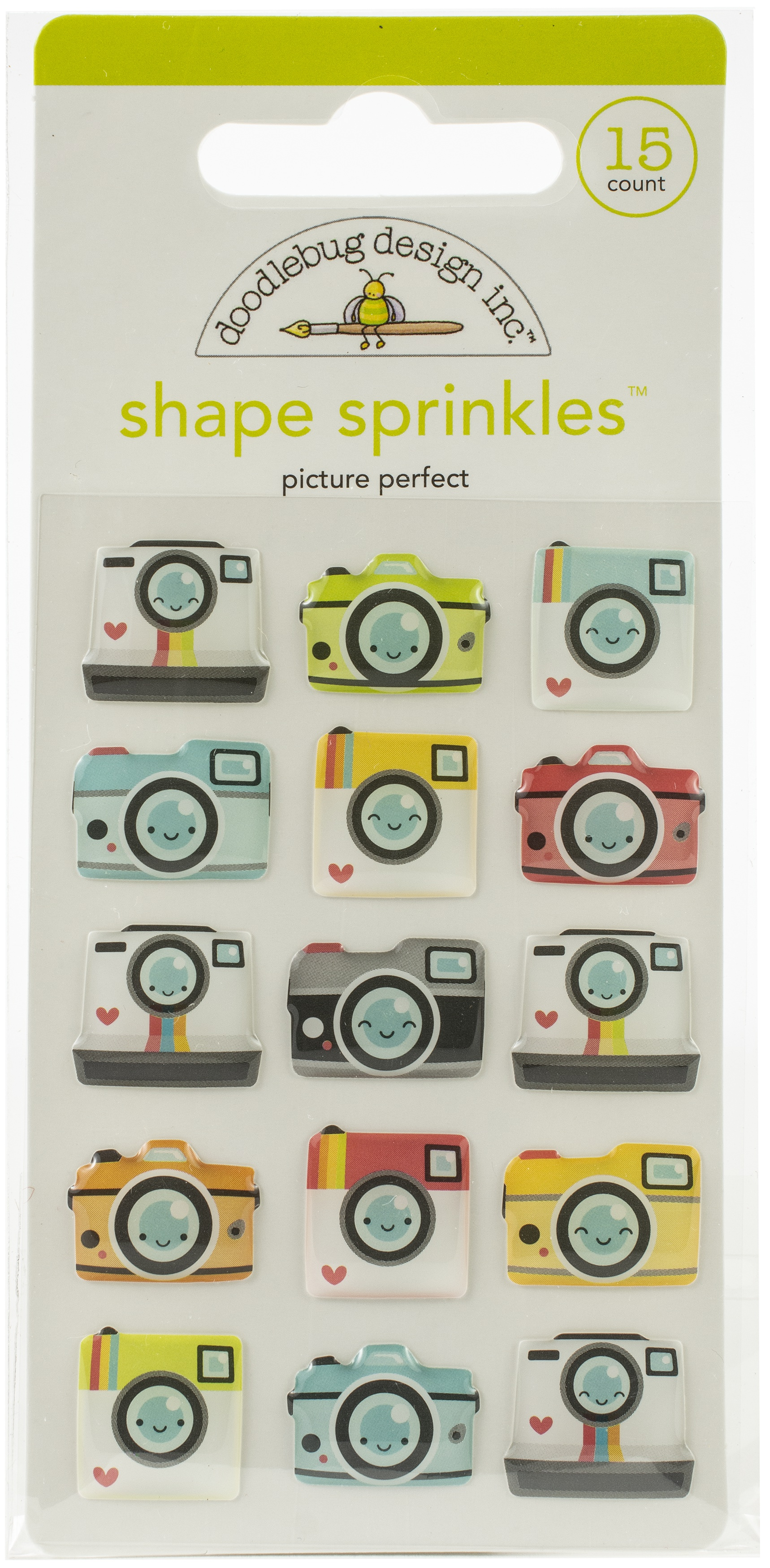 Doodlebug Sprinkles Adhesive Glossy Enamel Shapes-Picture Perfect, I Heart Trave...