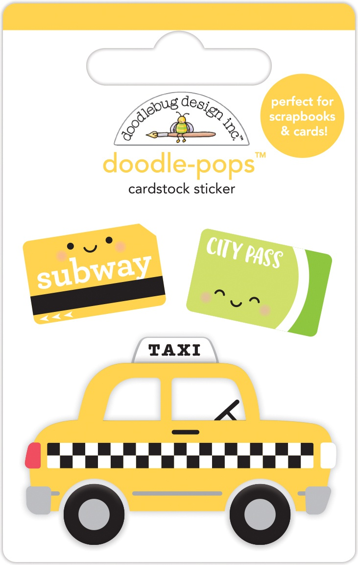 Doodlebug Doodle-Pops 3D Stickers-Taxi!, I Heart Travel