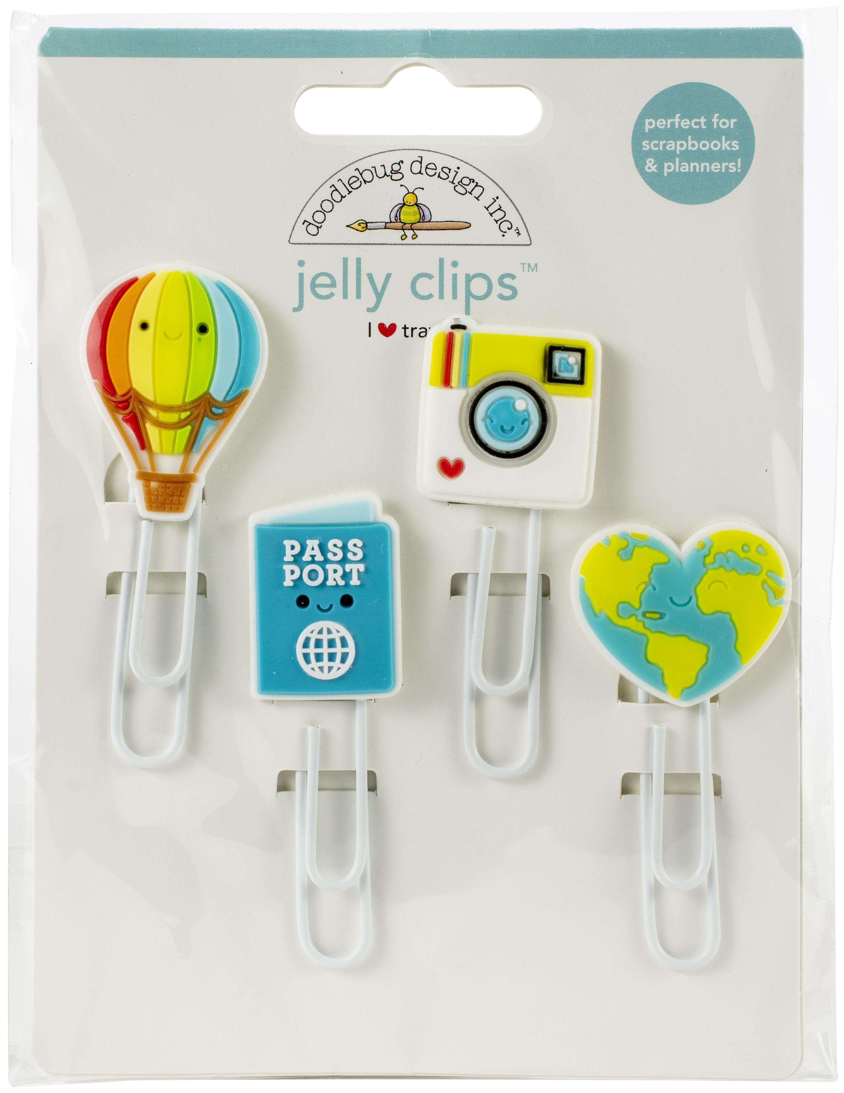 Doodlebug Jelly Clips 4/Pkg-I Heart Travel