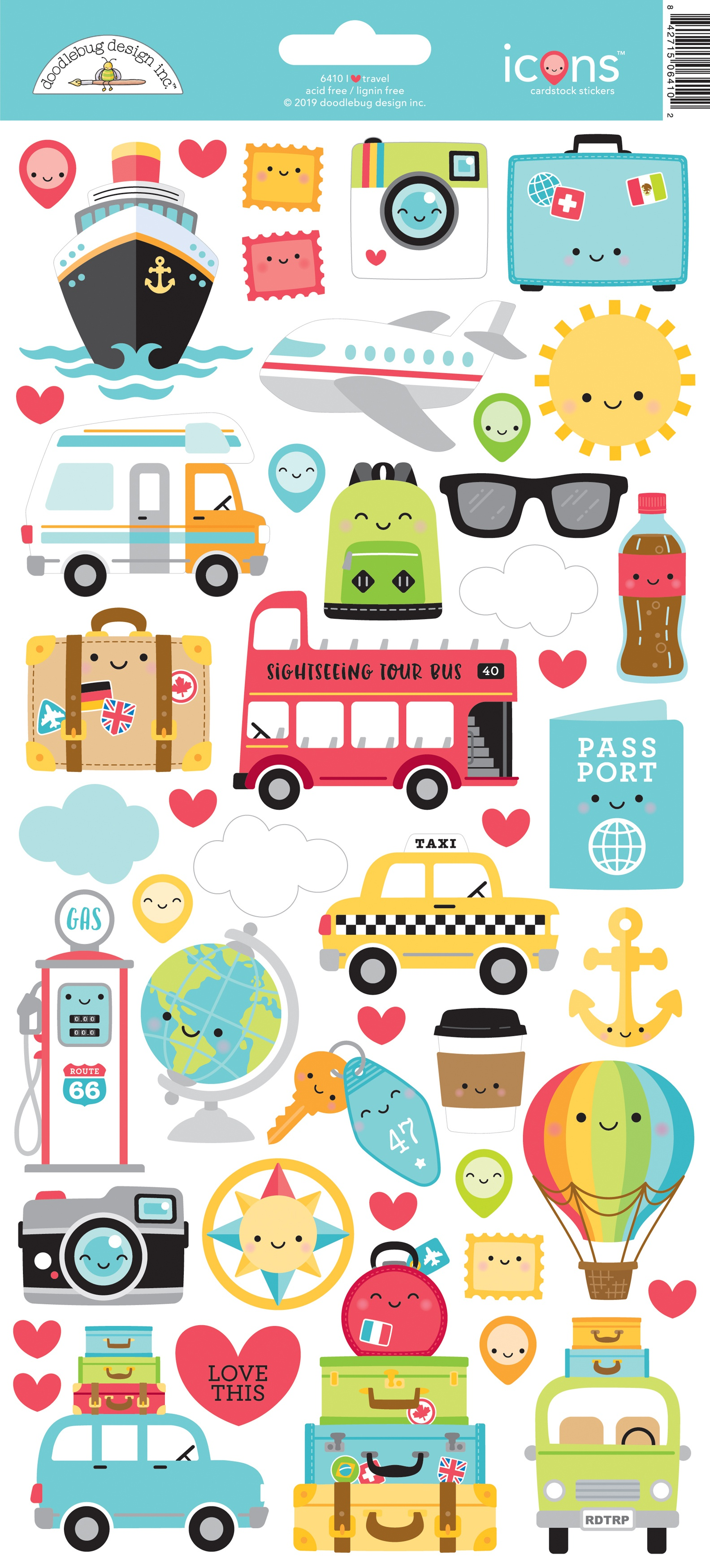 Doodlebug I Heart Travel - Icons Cardstock Stickers