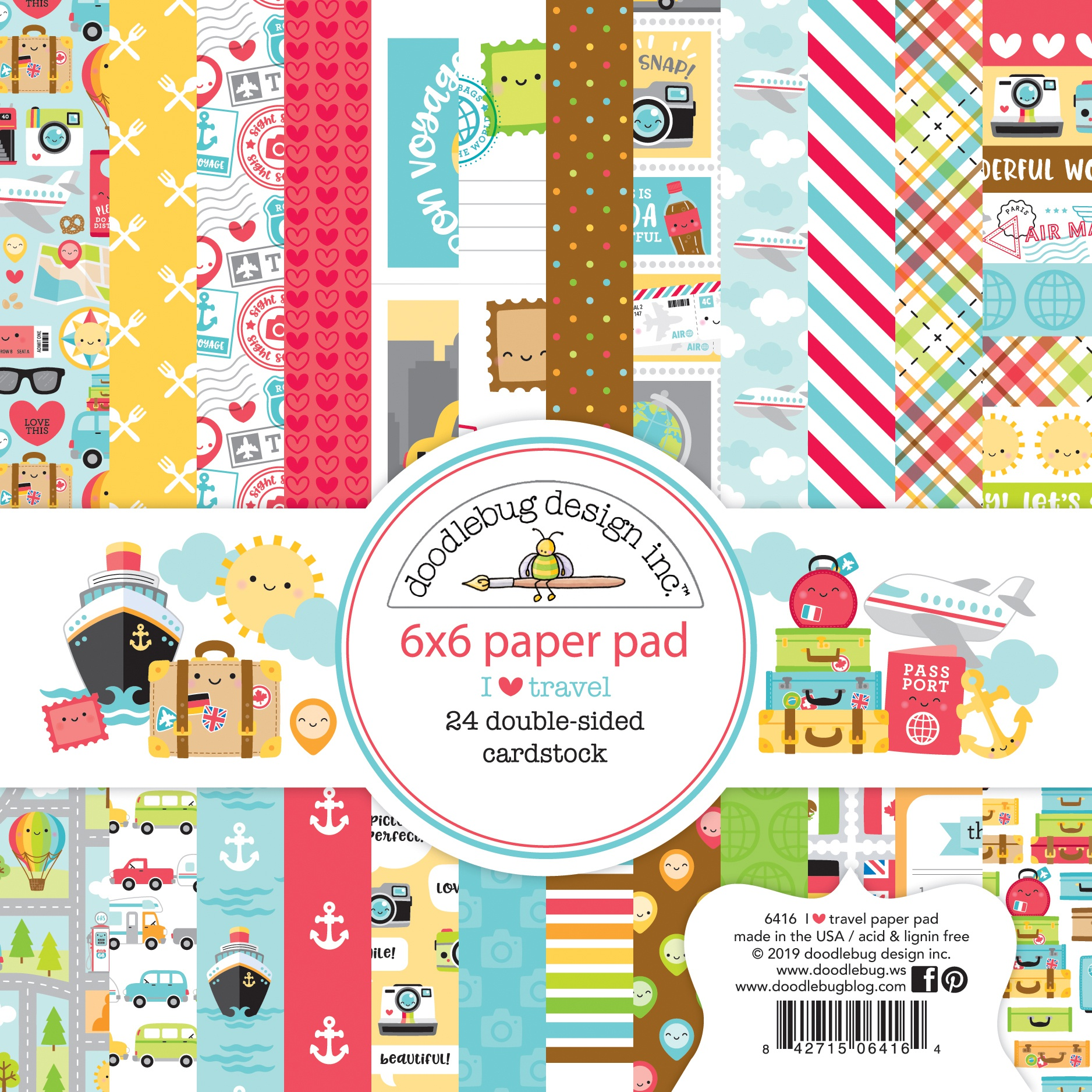 Doodlebug Double-Sided Paper Pad 6X6 24/Pkg-I Heart Travel, 12 Designs/2 Each