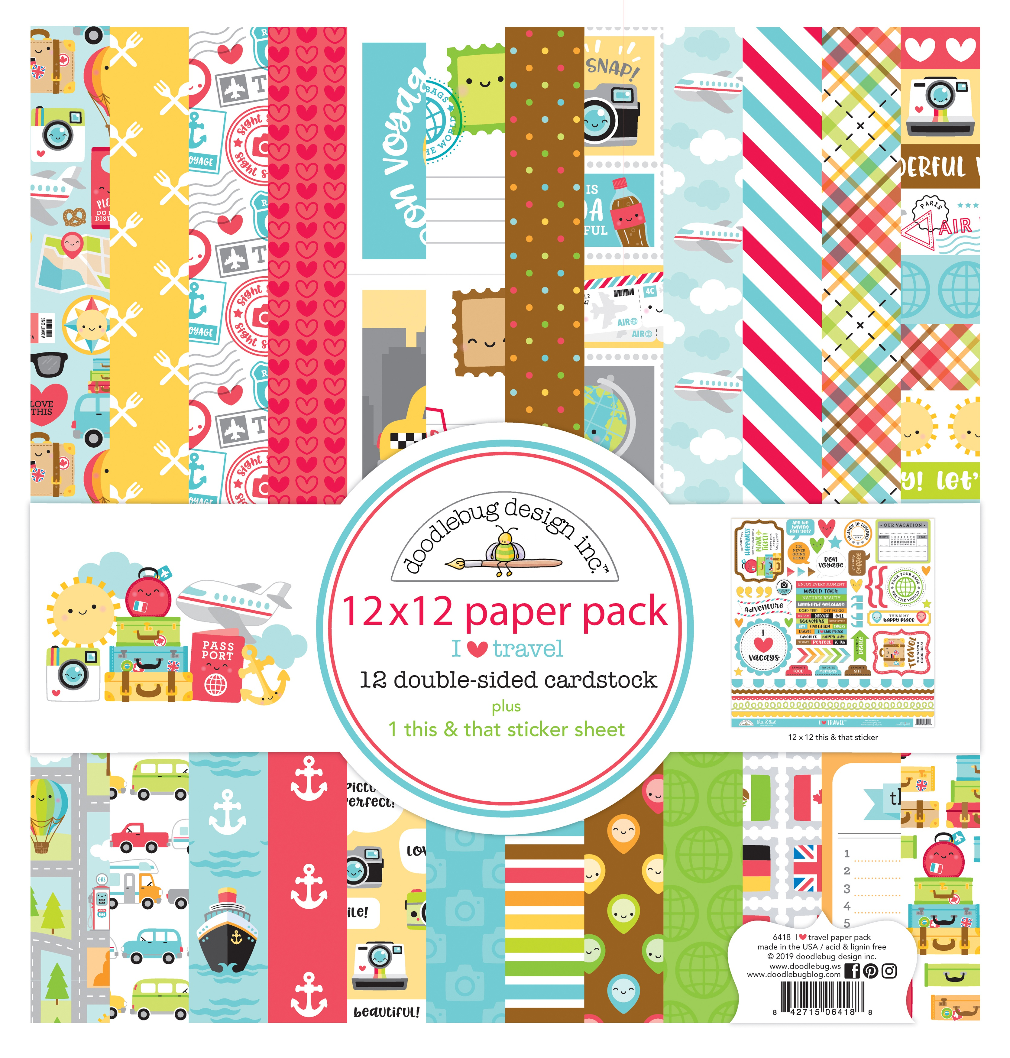 Doodlebug I Heart Travel Paper Pack 12x12 plus This & That Sticker Sheet