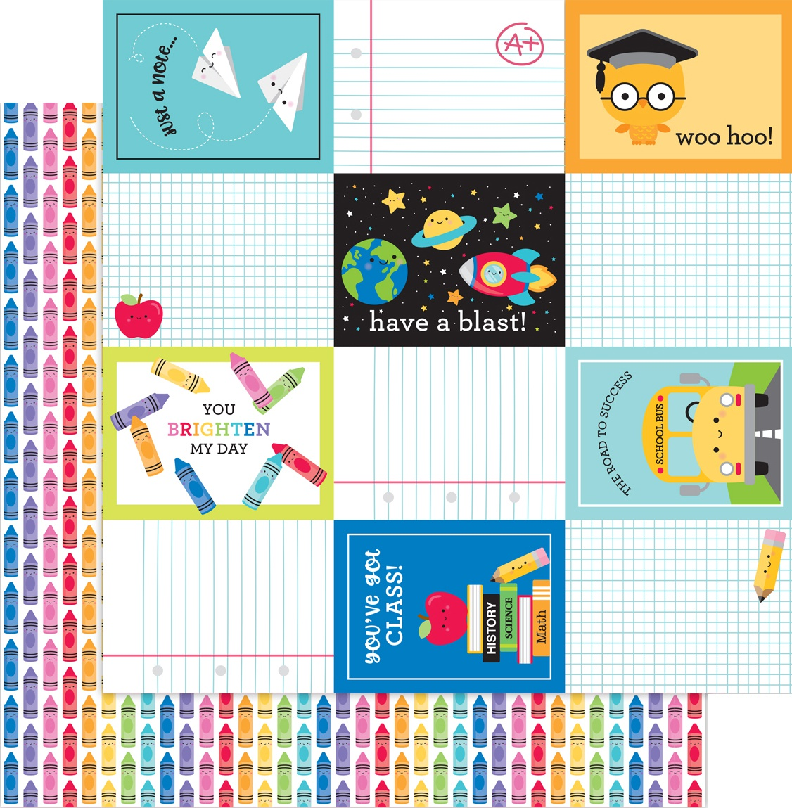 School Days Double-Sided Cardstock 12X12-Color Me Happy