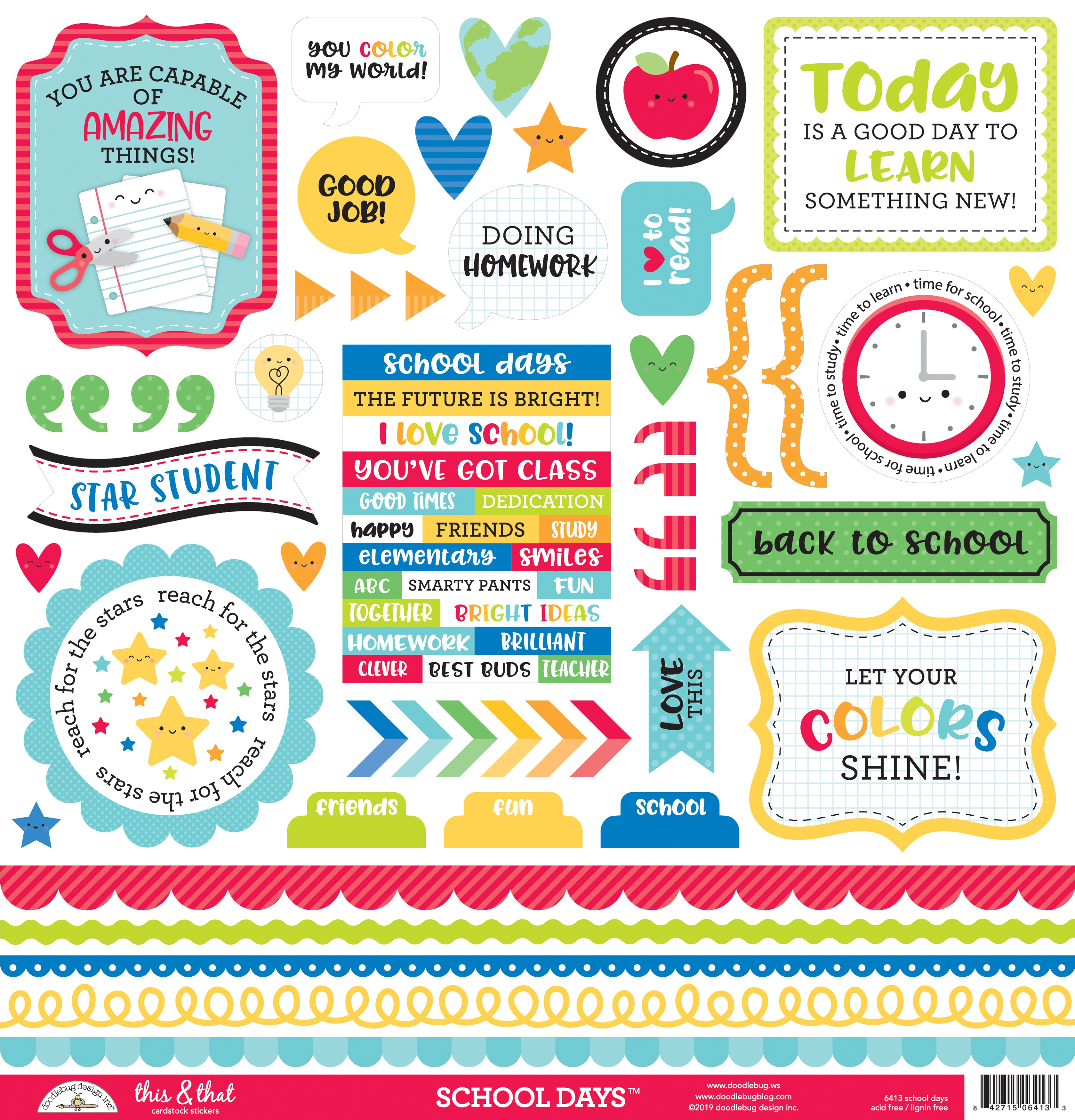 Doodlebug This & That Cardstock Stickers 12X12-School Days
