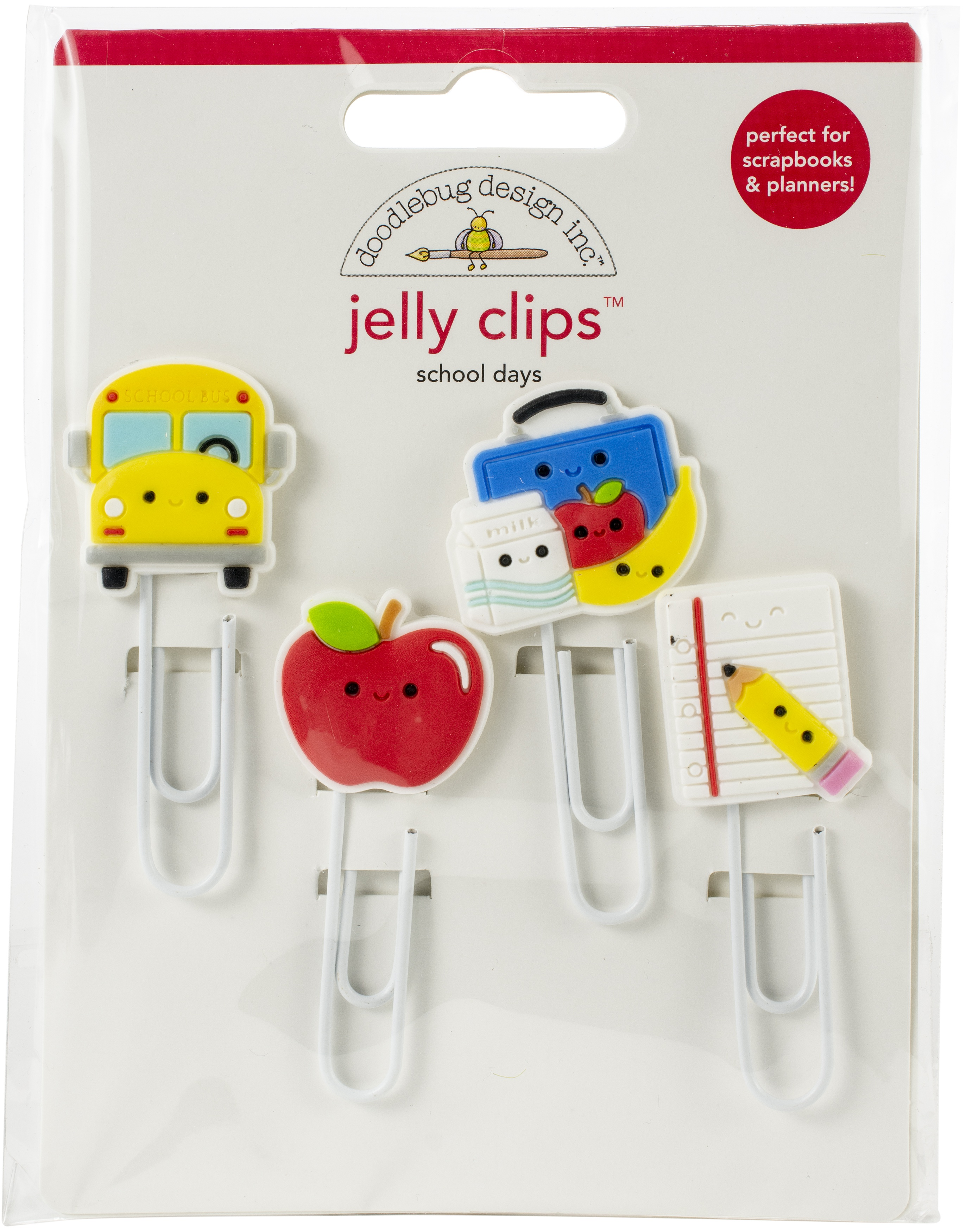 Doodlebug Jelly Clips 4/Pkg-School Days