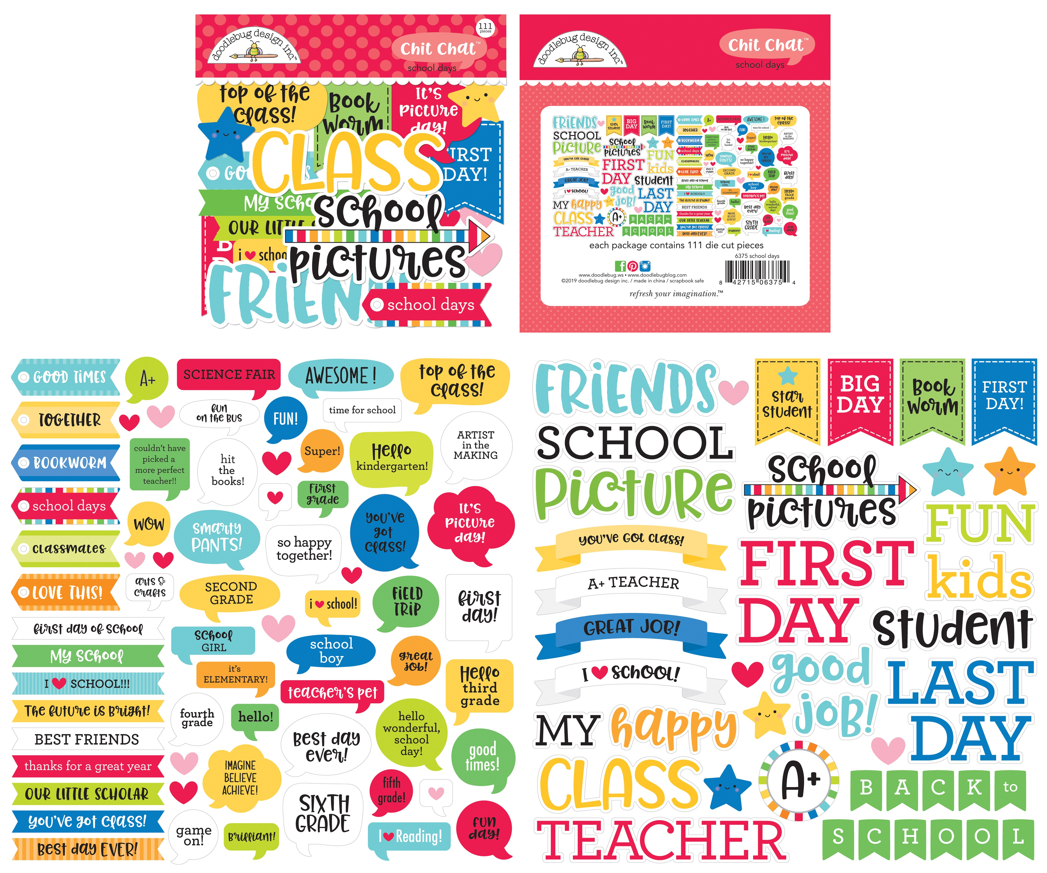 Doodlebug Odds & Ends Chit Chat Die-Cuts-School Days, 111/Pkg