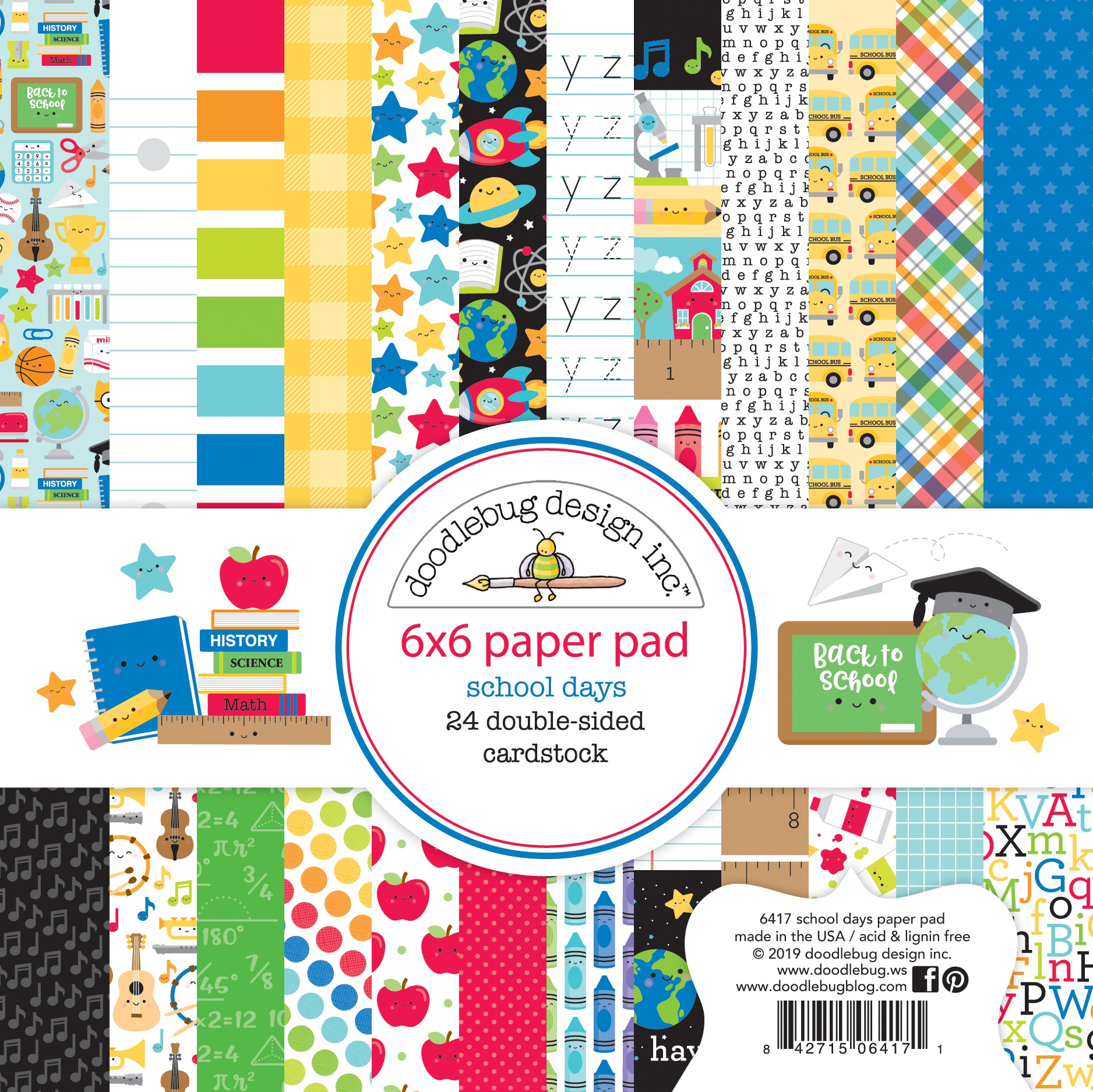 Doodlebug Double-Sided Paper Pad 6X6 24/Pkg-School Days, 12 Designs/2 Each