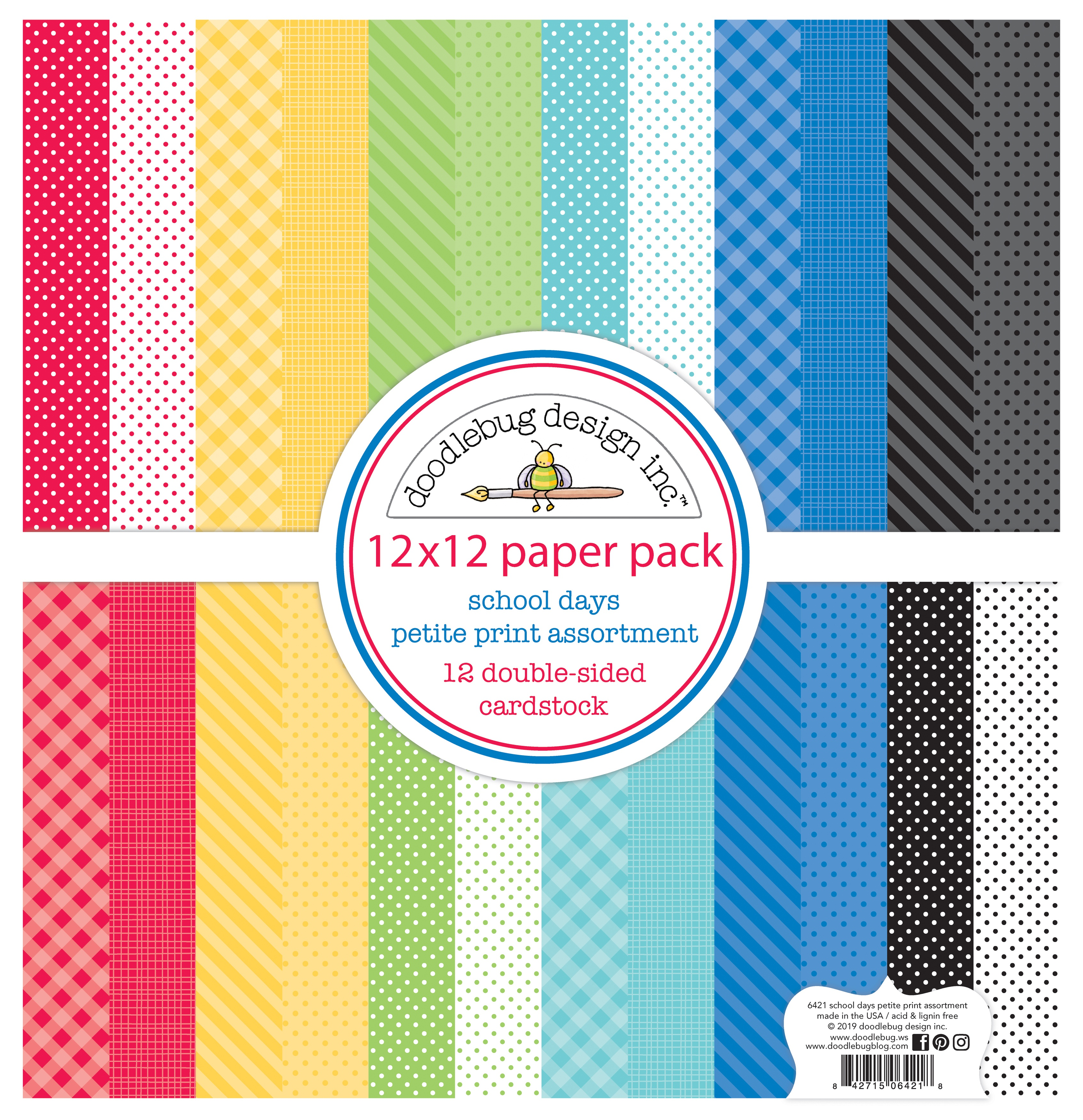 Doodlebug Petite Prints Double-Sided Cardstock 12X12 12/Pk-School Days, 12 Des...