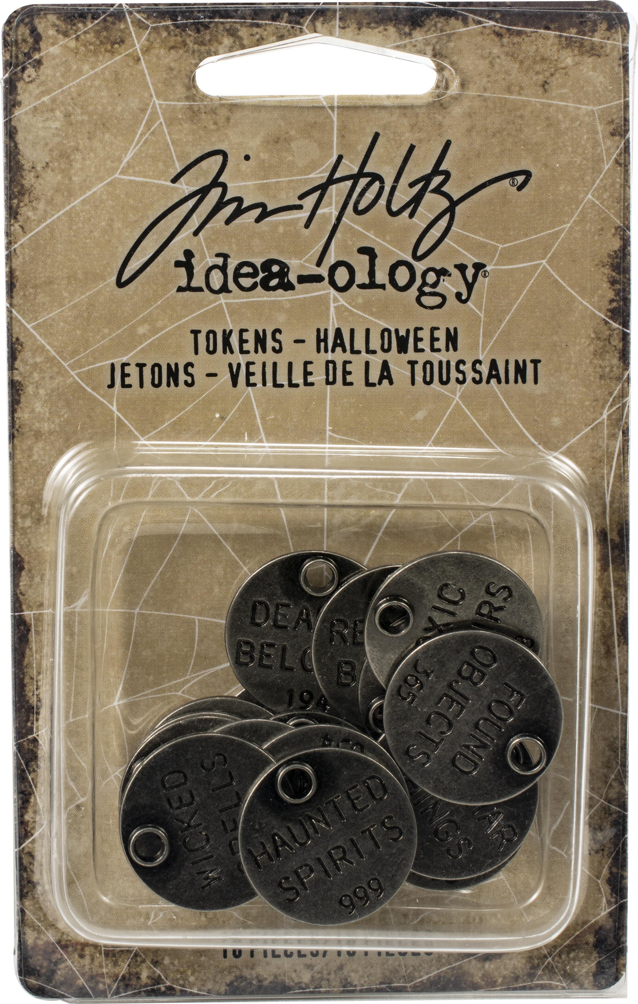 Idea-Ology Metal Typed Tokens 18/Pkg-Antique Nickel Halloween Words 1