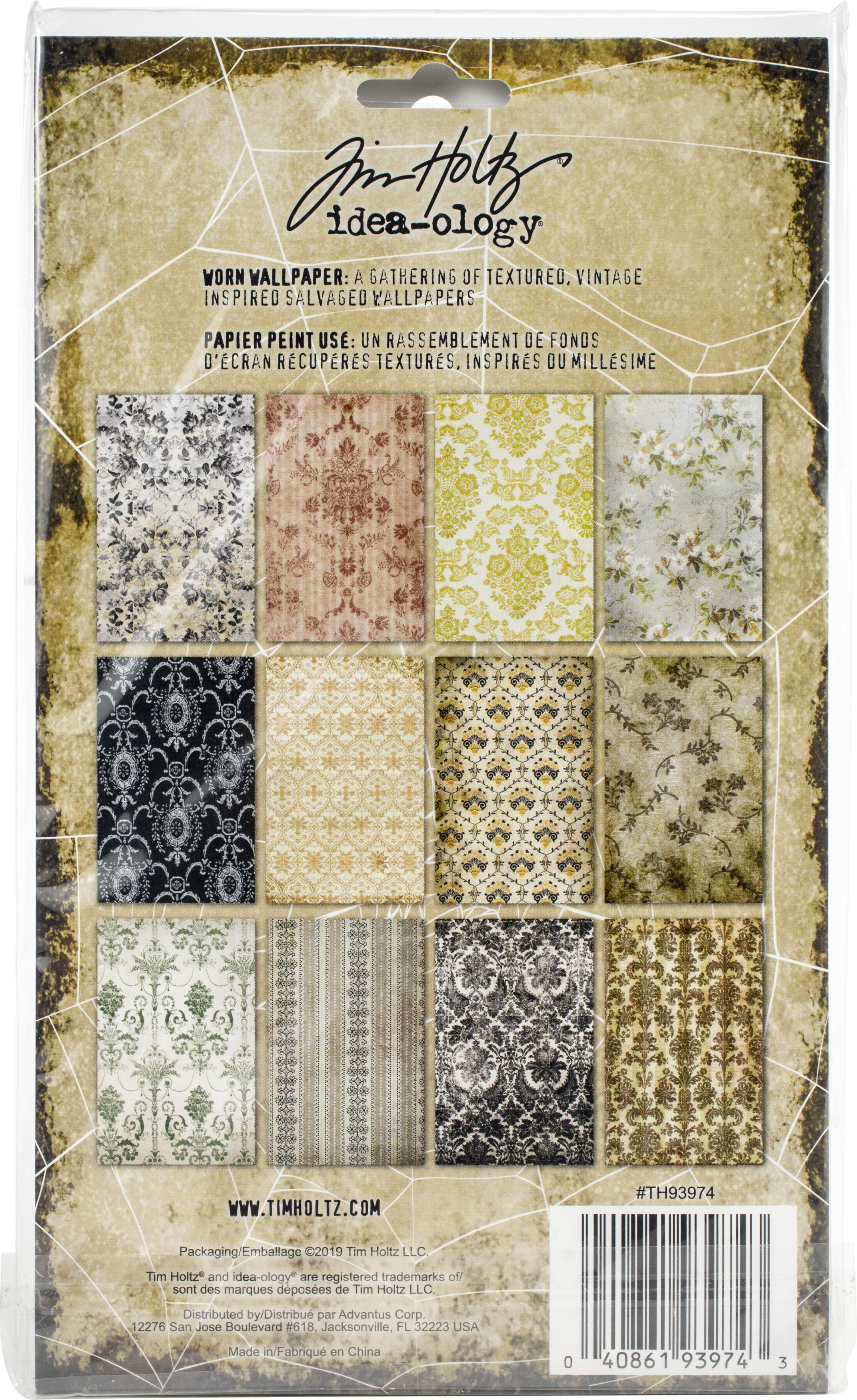 Idea-Ology Worn Wallpaper 5X8 24/Pkg-Halloween, 12 Designs/2 Each