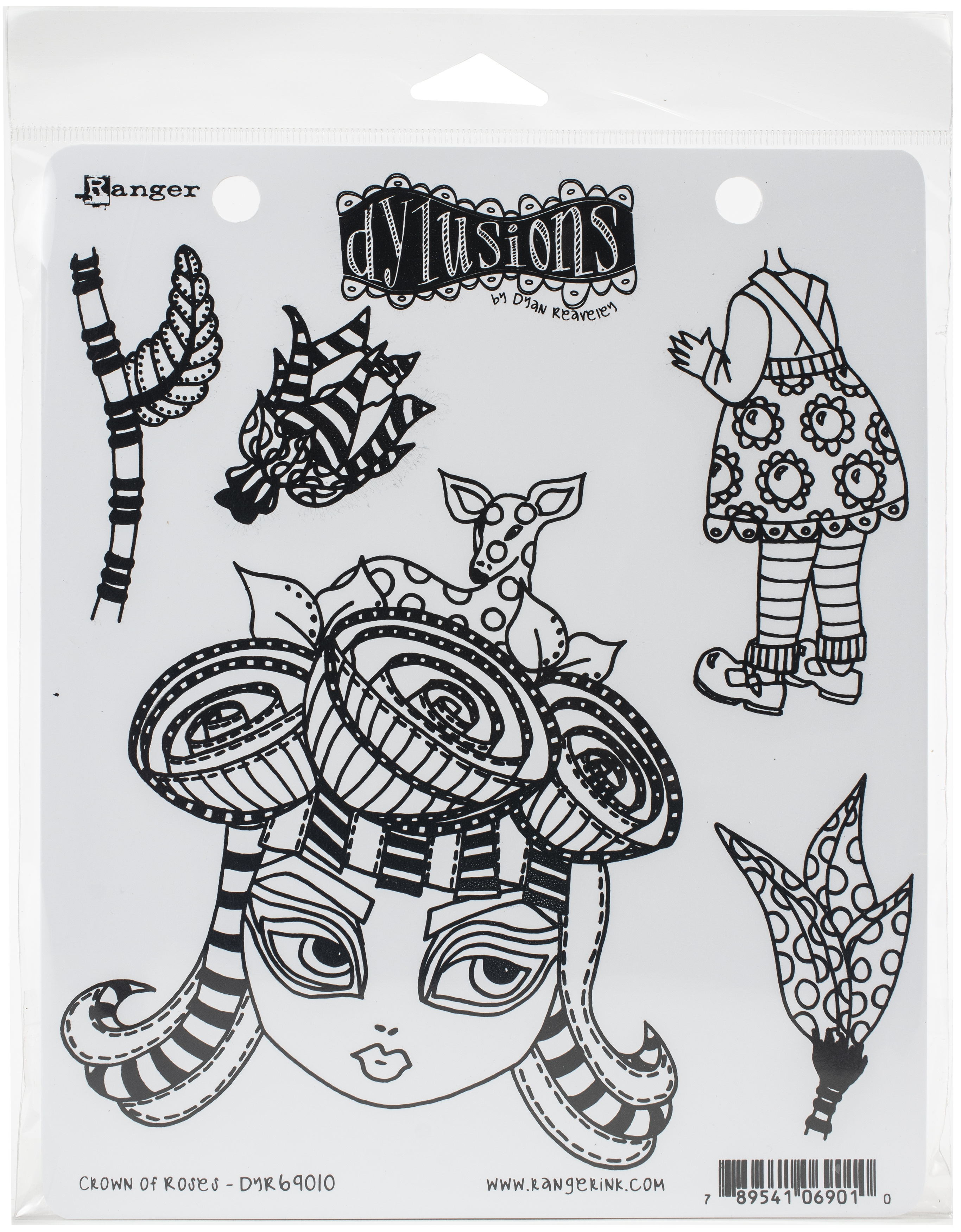 Dyan Reaveley's Dylusions Cling Stamp Collections 8.5X7-Crown Of Roses