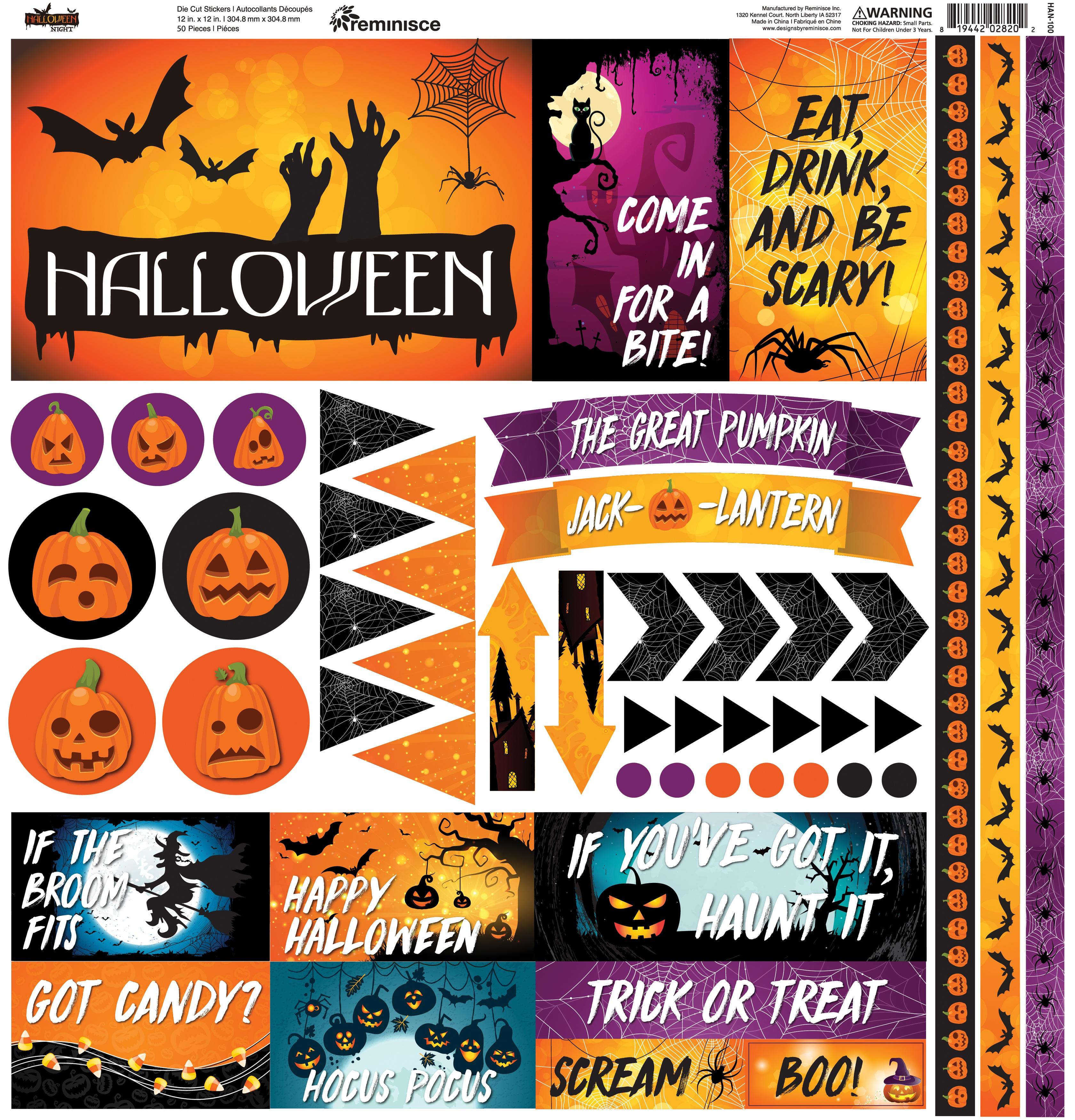 Reminisce Elements Cardstock Stickers 12X12-Halloween Night
