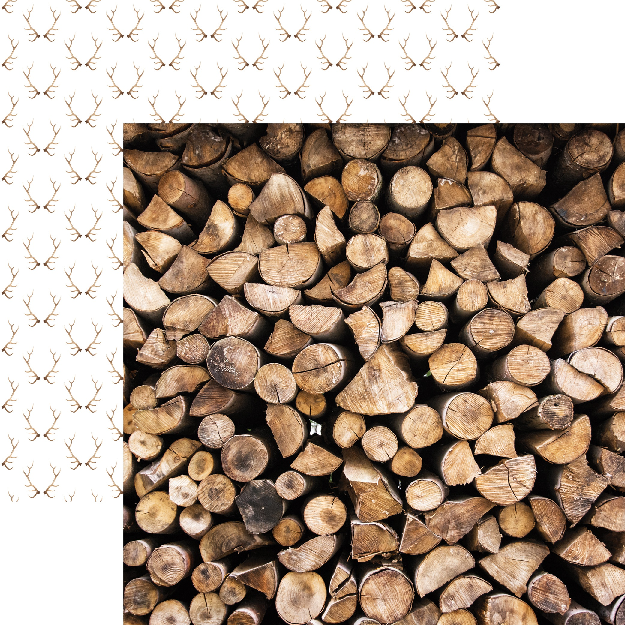 Scandinavian Woodland Double-Sided Cardstock 12X12-Stacked Logs
