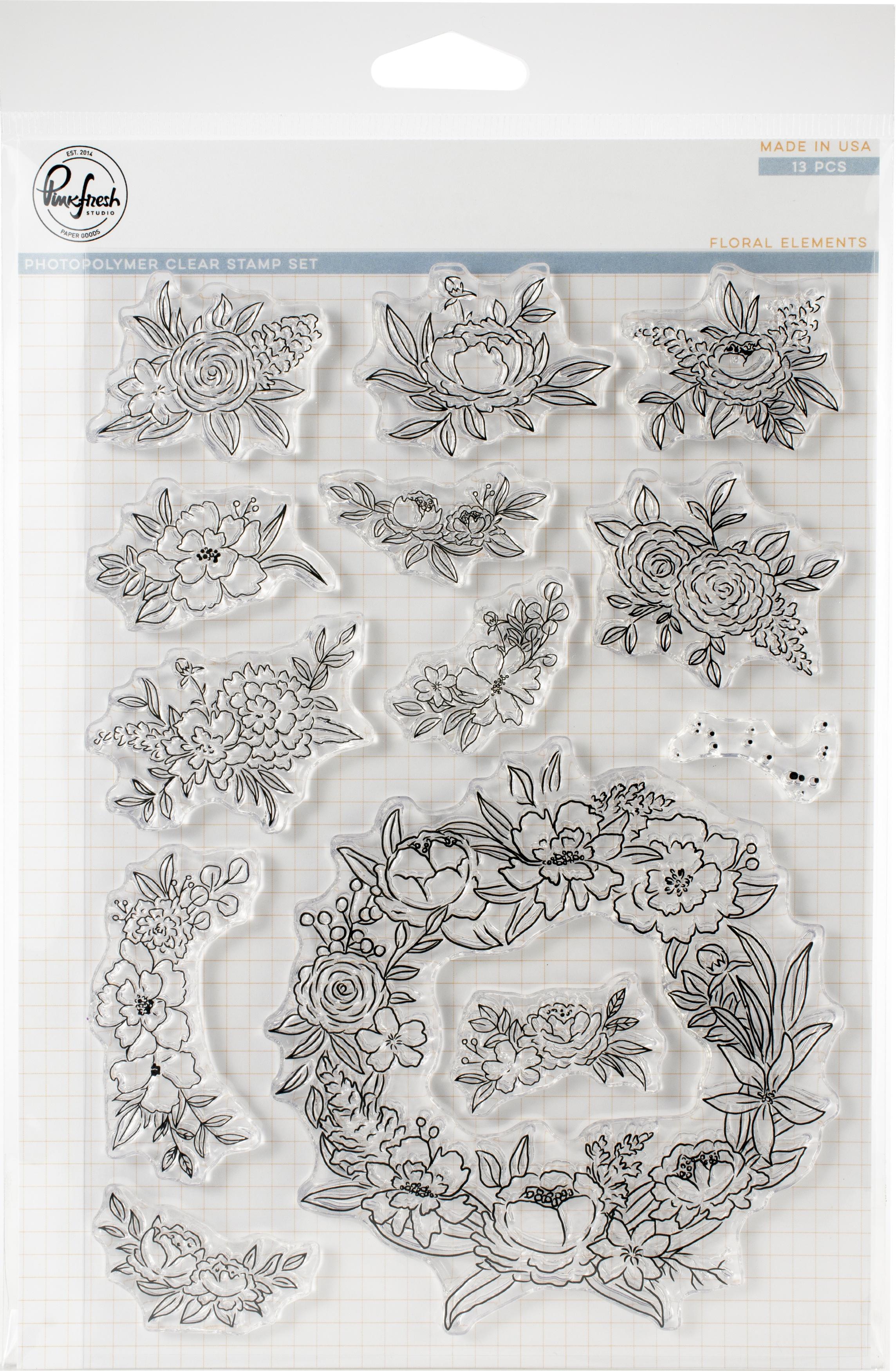 Pinkfresh Studio Clear Stamp Set 6X8-Floral Elements