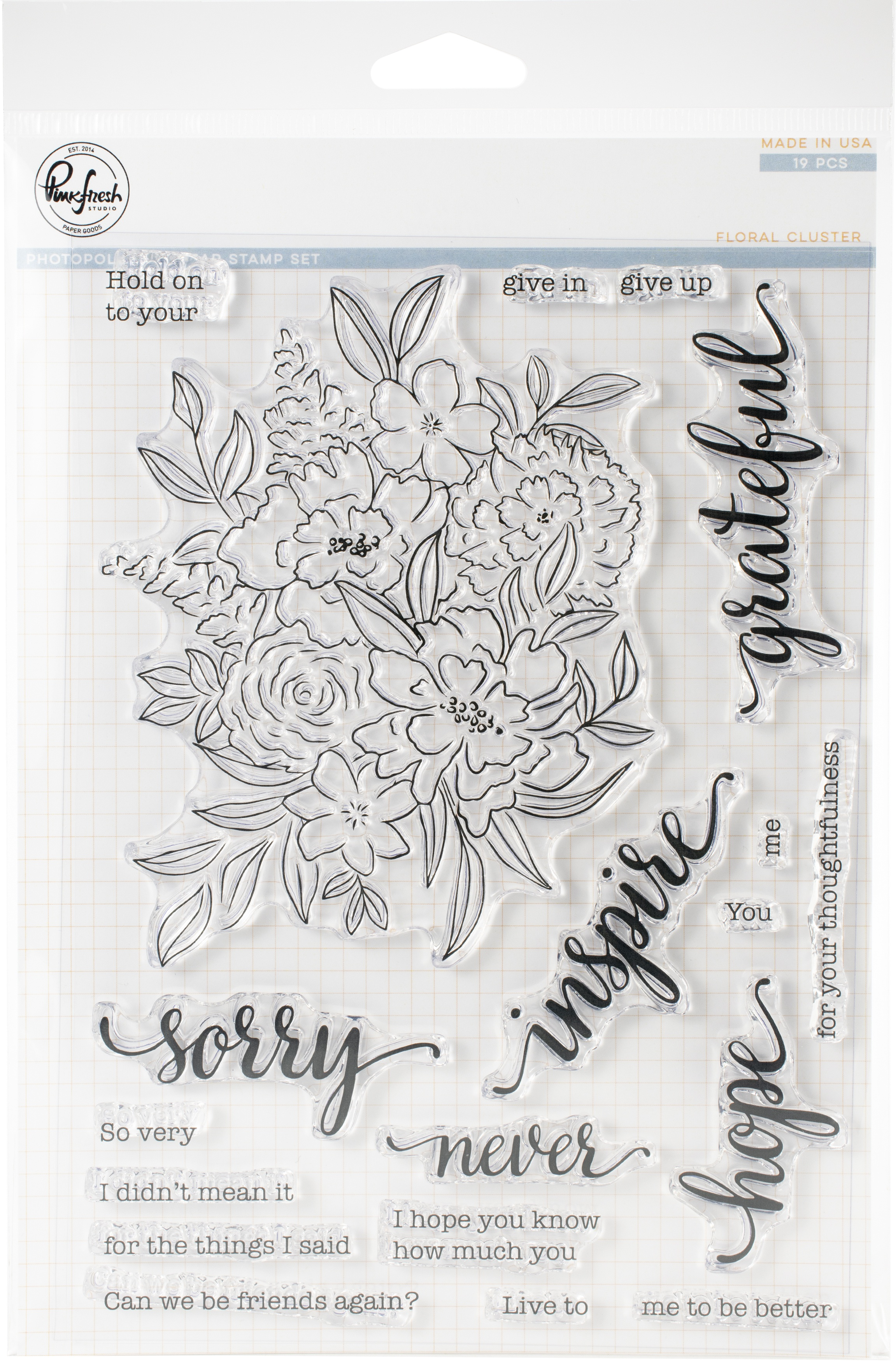 Pinkfresh Studio Clear Stamp Set 6X8-Floral Cluster