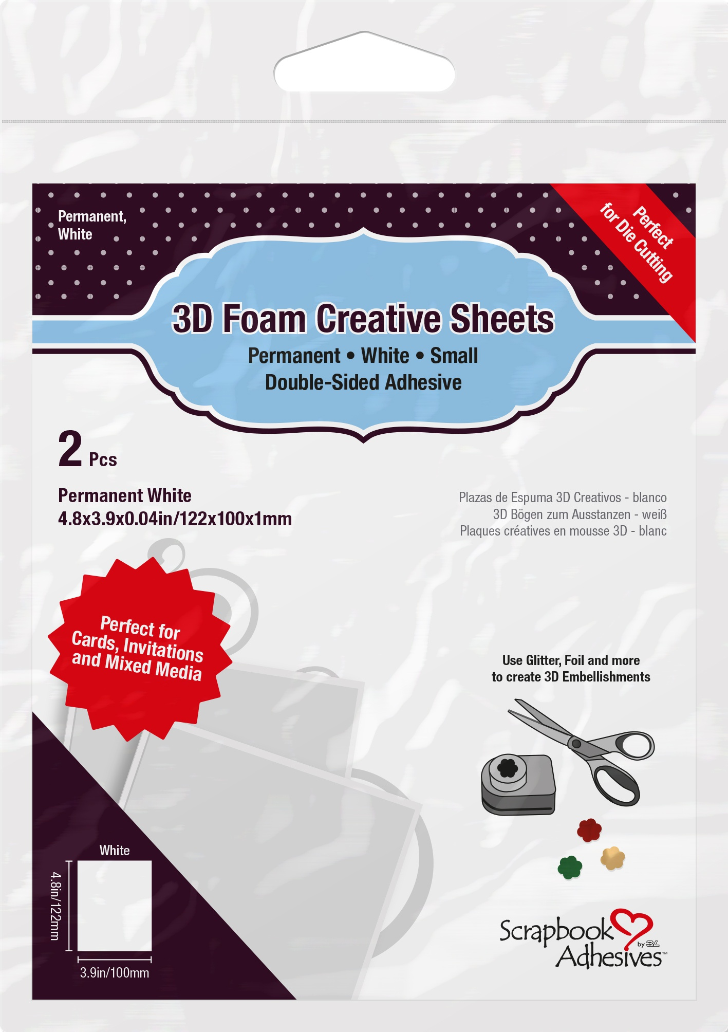 Scrapbook Adhesives 3D Foam Creative Sheets 2/Pkg-Thin White