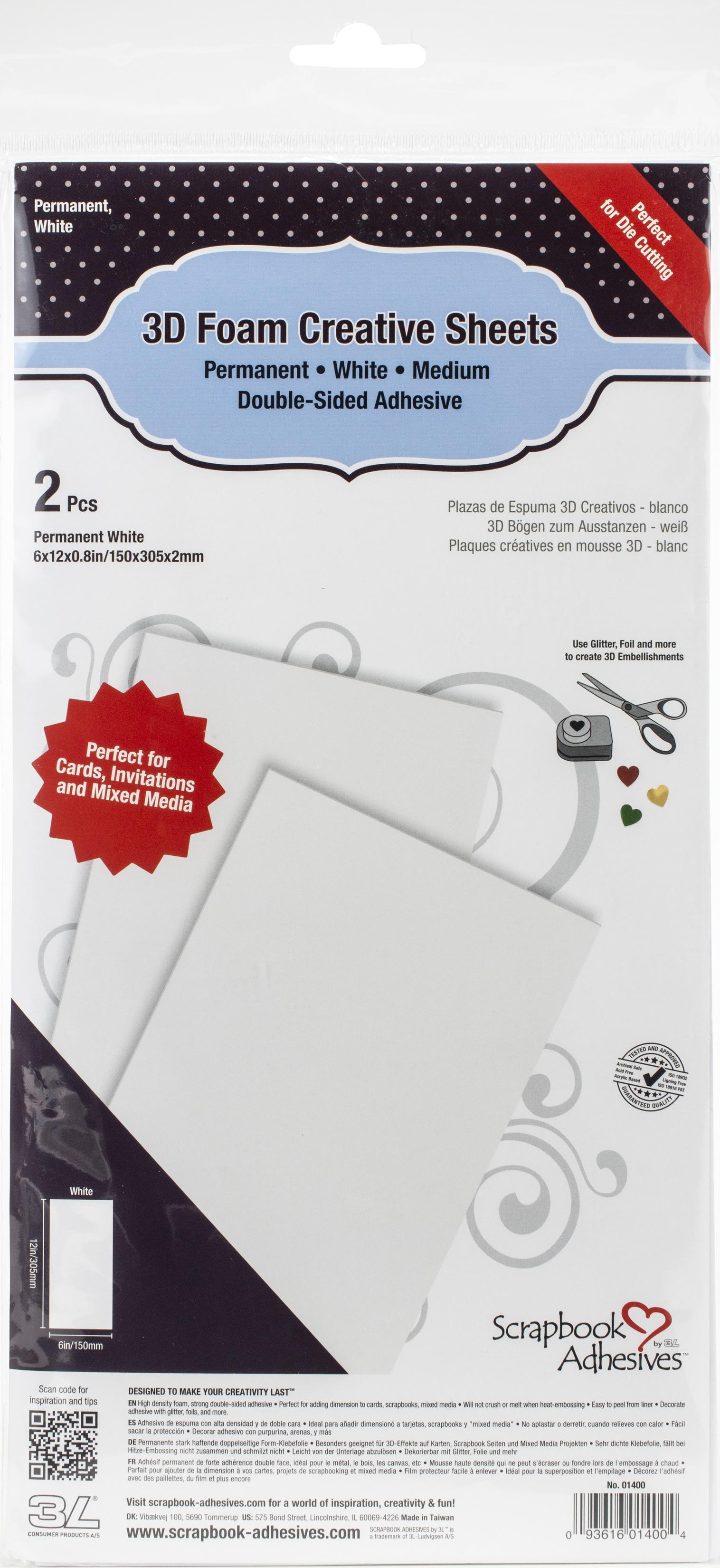 Scrapbook Adhesives 3D Foam Creative Sheets 2/Pkg-White 6X12