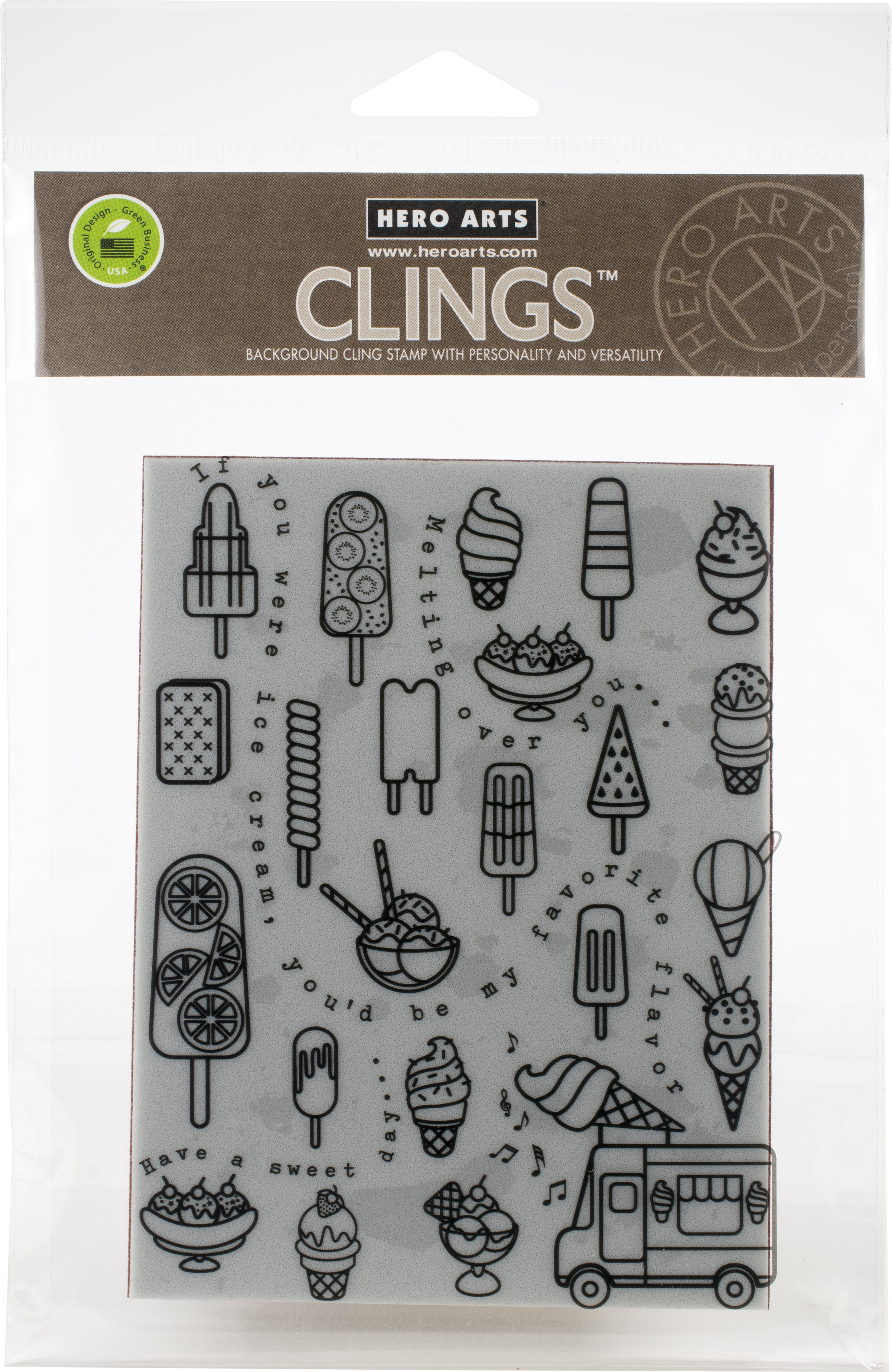 Hero Arts Cling Stamps 4.5X5.75-Ice Cream Background