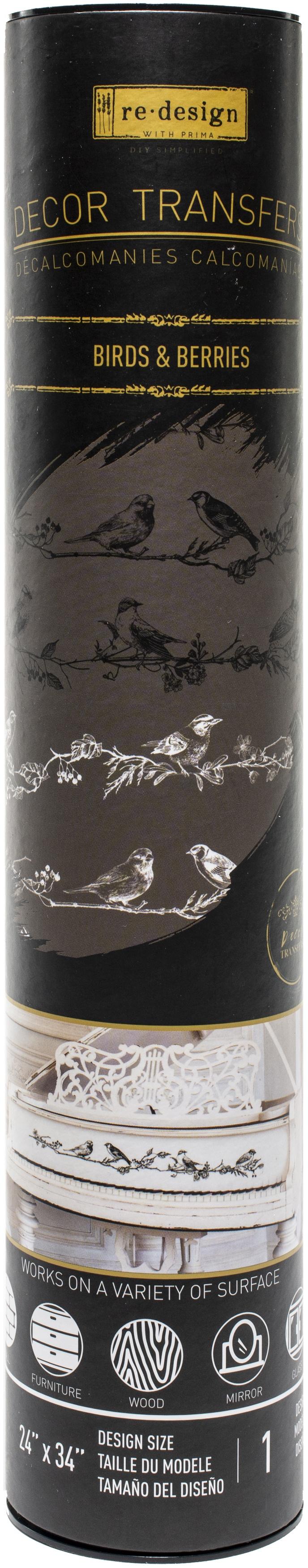 Prima Re-Design Decor Transfer-Birds & Berries 34X24