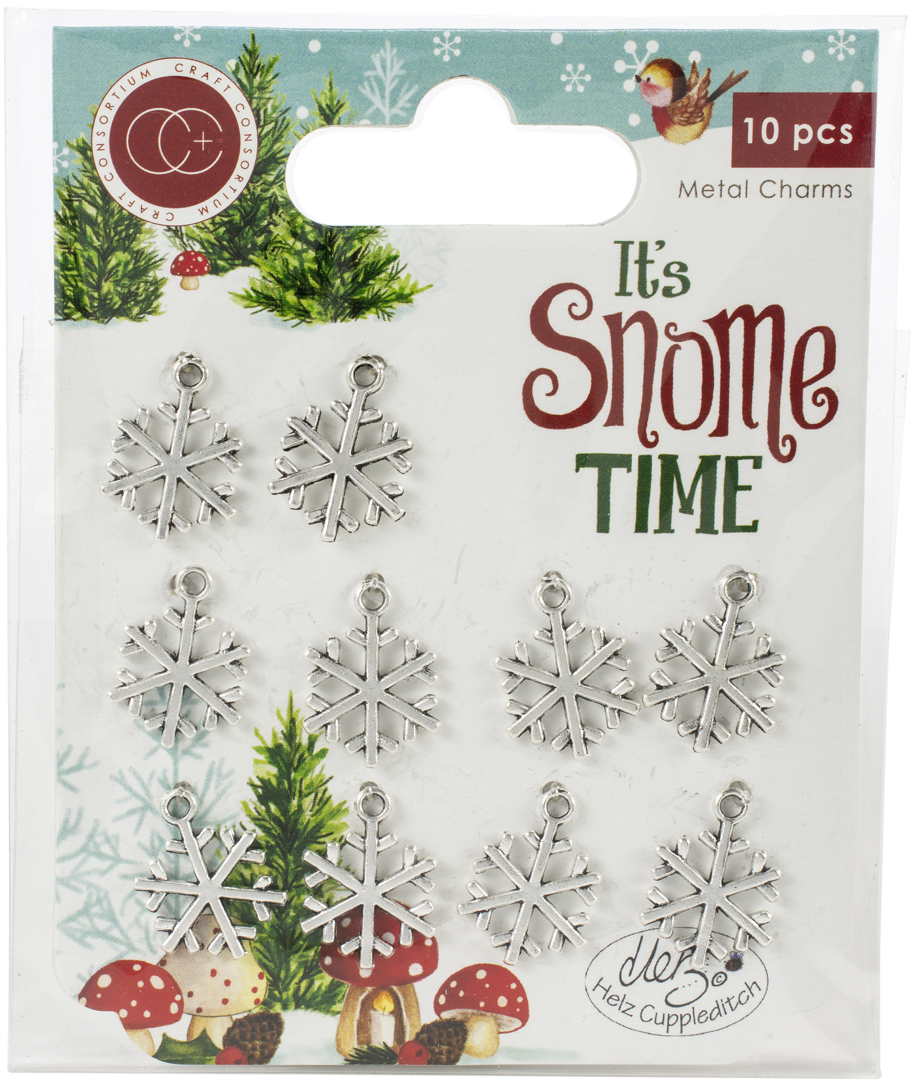 Craft Consortium It's Snome Time Metal Charms 10/Pkg-Snowflakes
