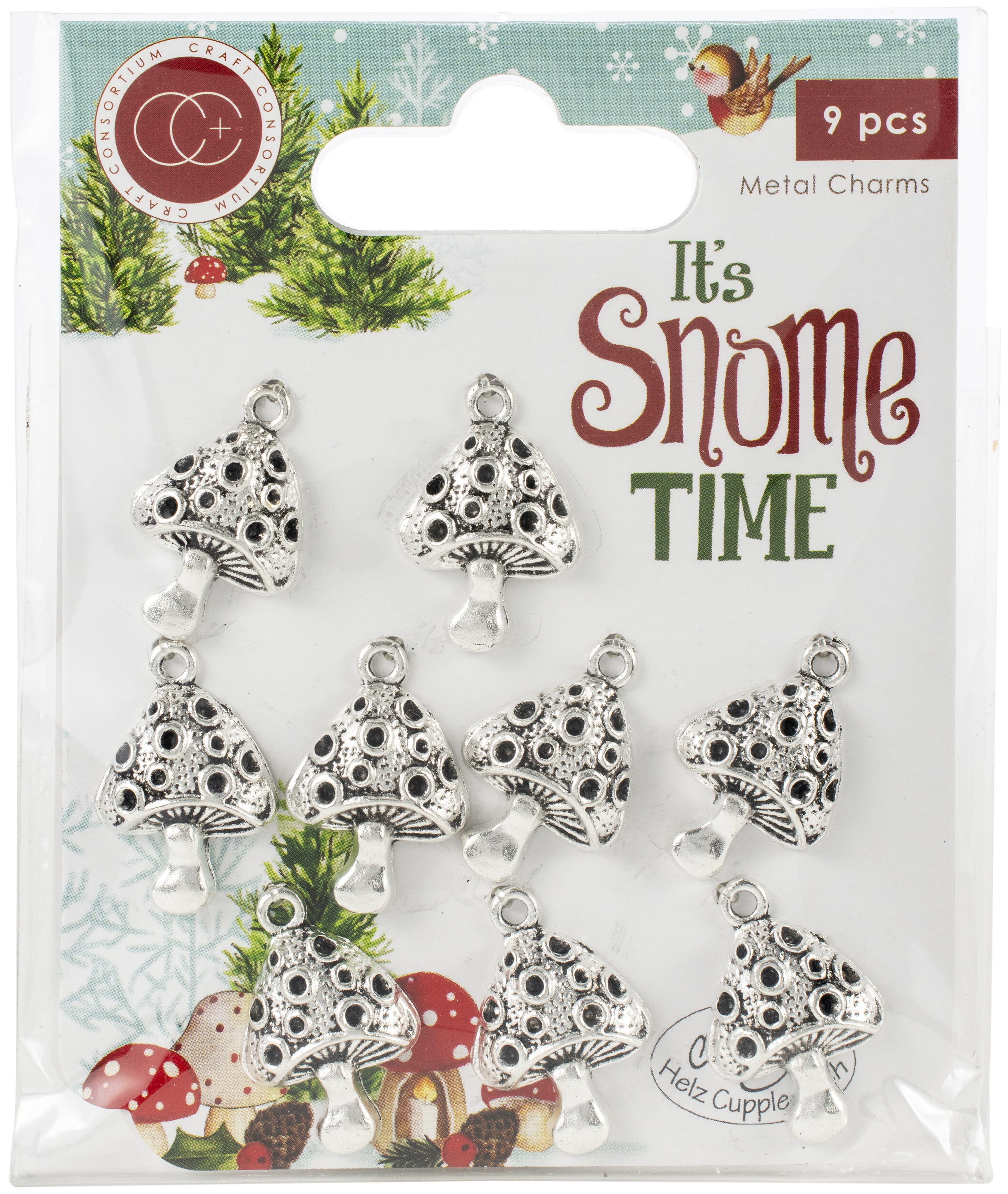 Craft Consortium It's Snome Time Metal Charms 9/Pkg-Toad Stools