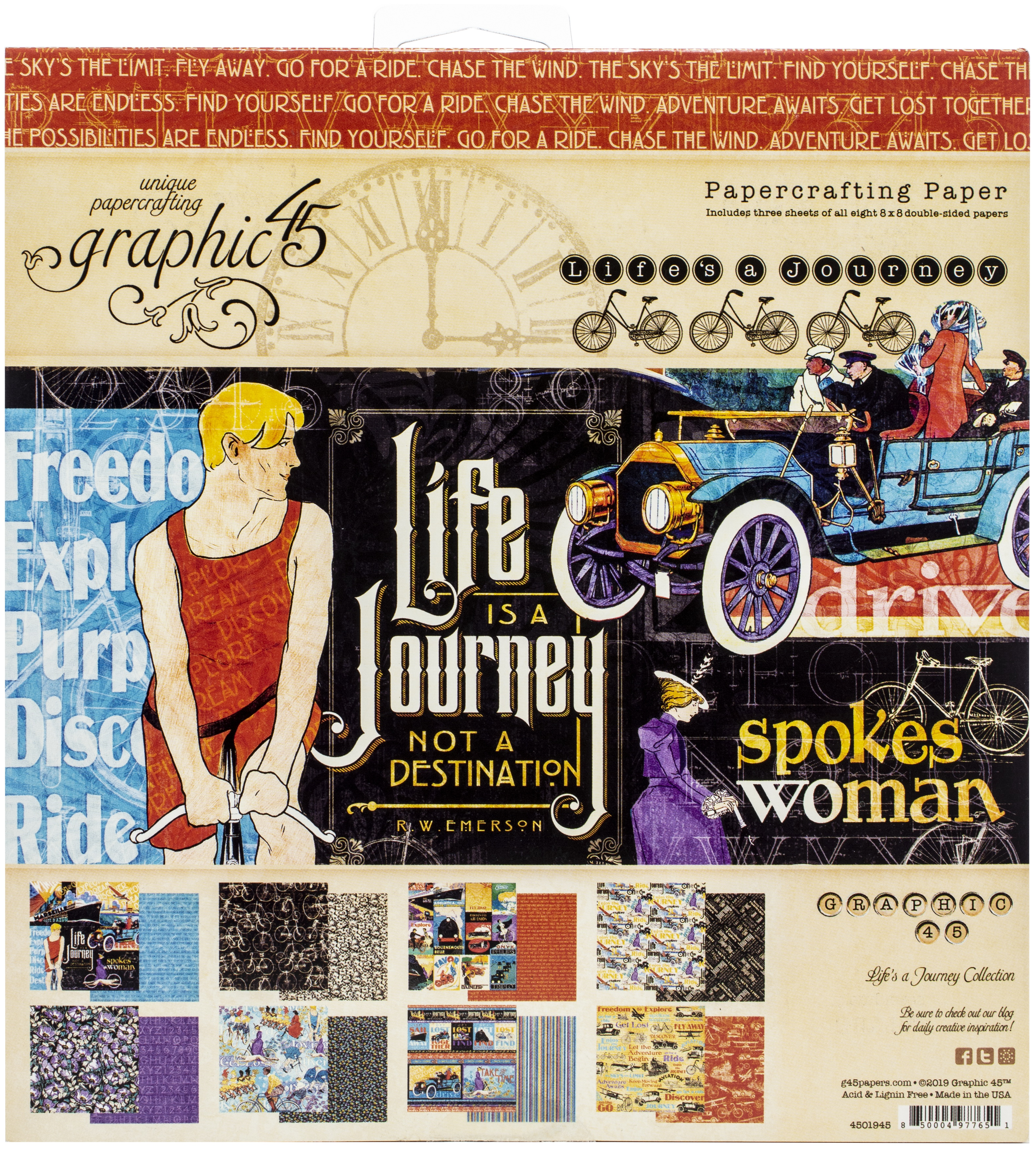 Graphic 45 Double-Sided Paper Pad 8X8 24/Pkg-Life's Journey, 8 Designs/3 Each