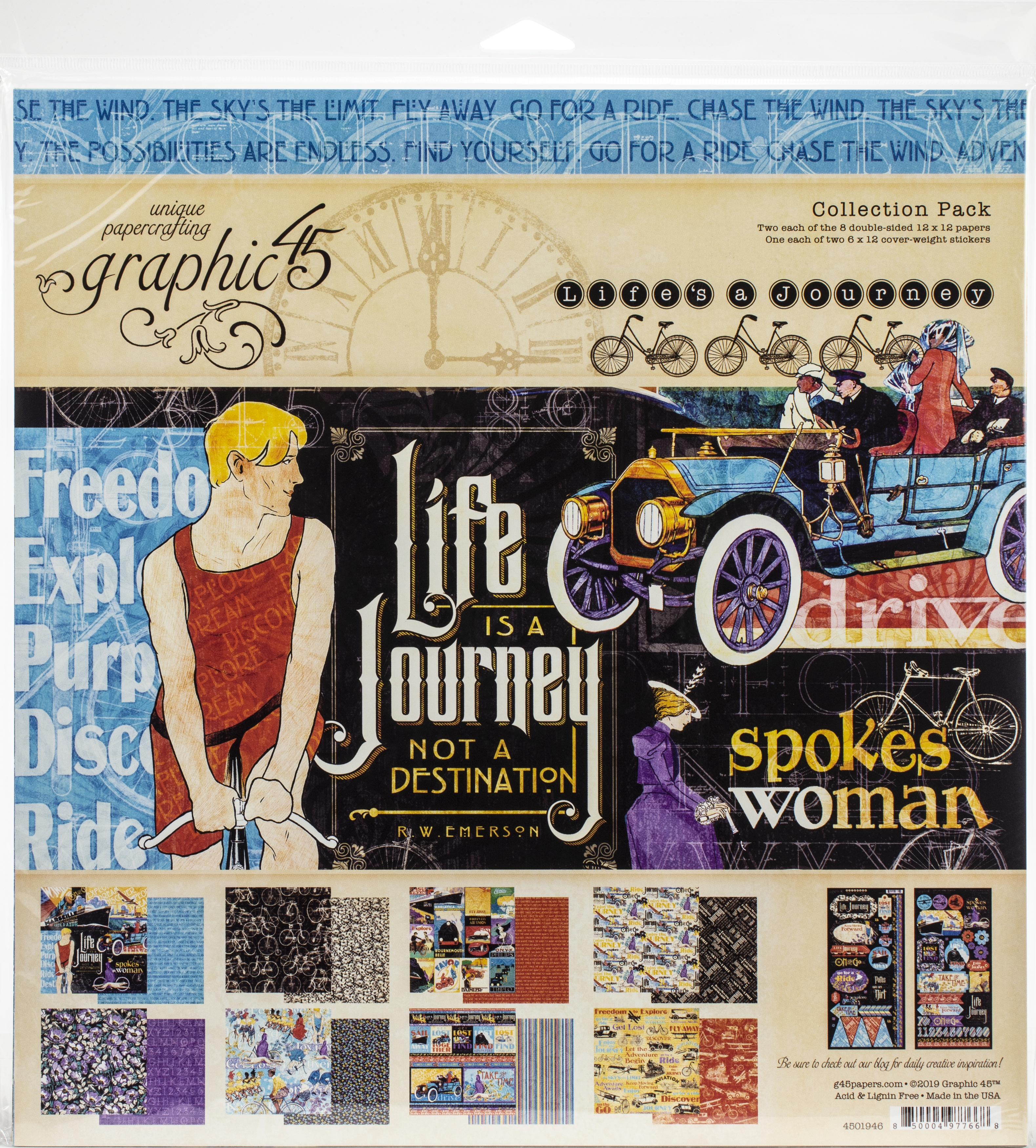 Graphic 45 Collection Pack 12X12-Life's A Journey