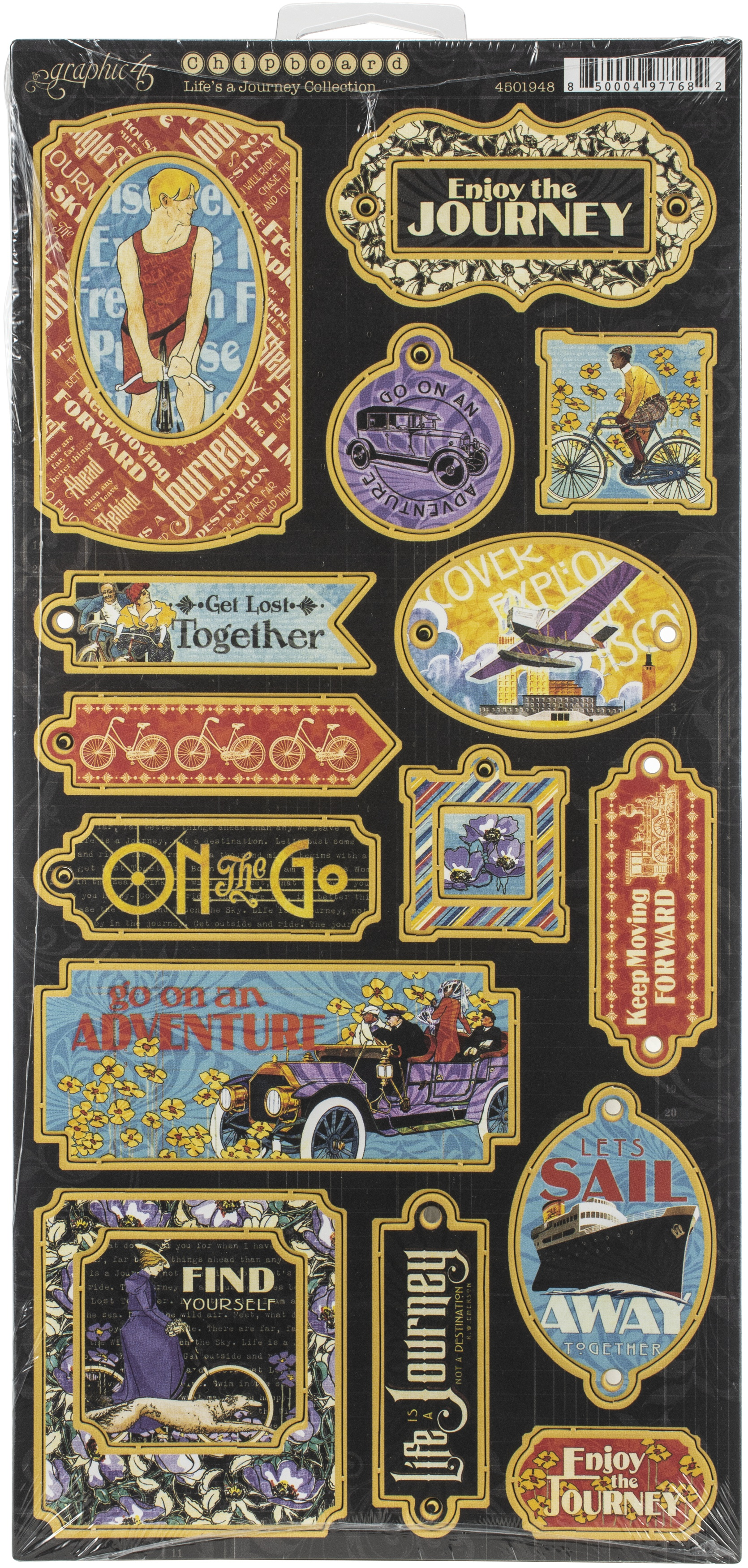 Life's A Journey Chipboard Die-Cuts 6X12 Sheet-