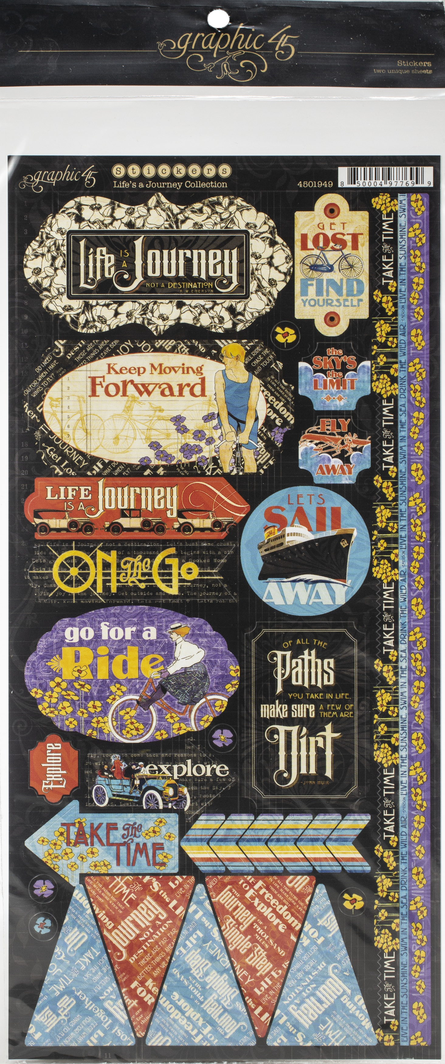 Graphic 45 Life's A Journey Cardstock Stickers 12X12-