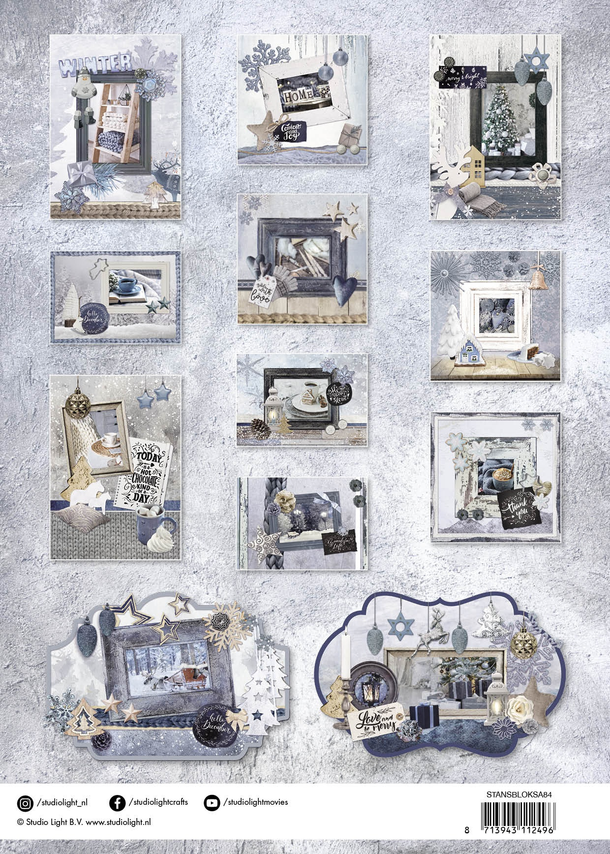 Studio Light Die-Cut Card Toppers A4 12/Pkg-Snowy Afternoon, Makes 12 Cards