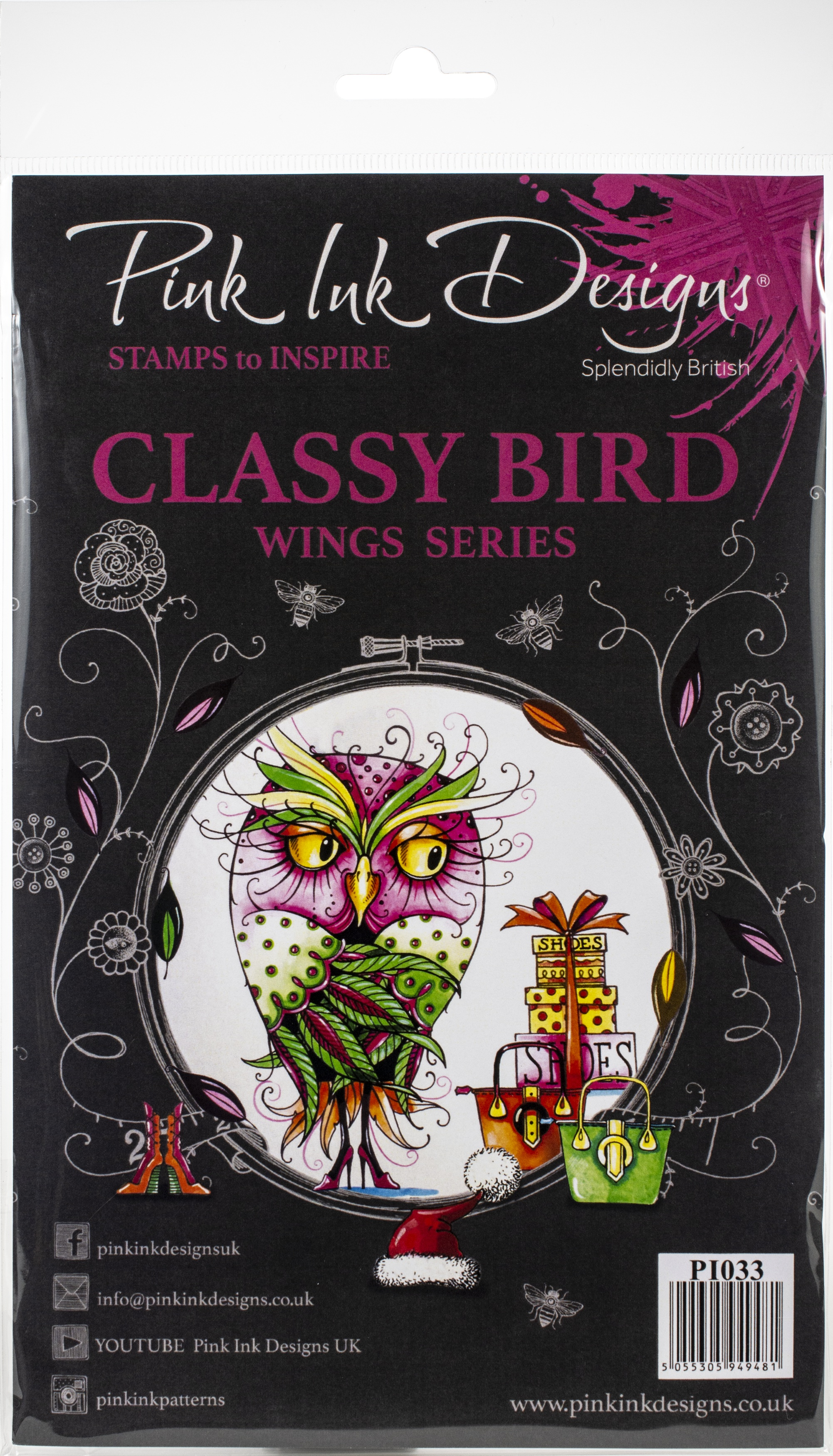 Pink Ink Designs A5 Clear Stamp Set-Classy Bird