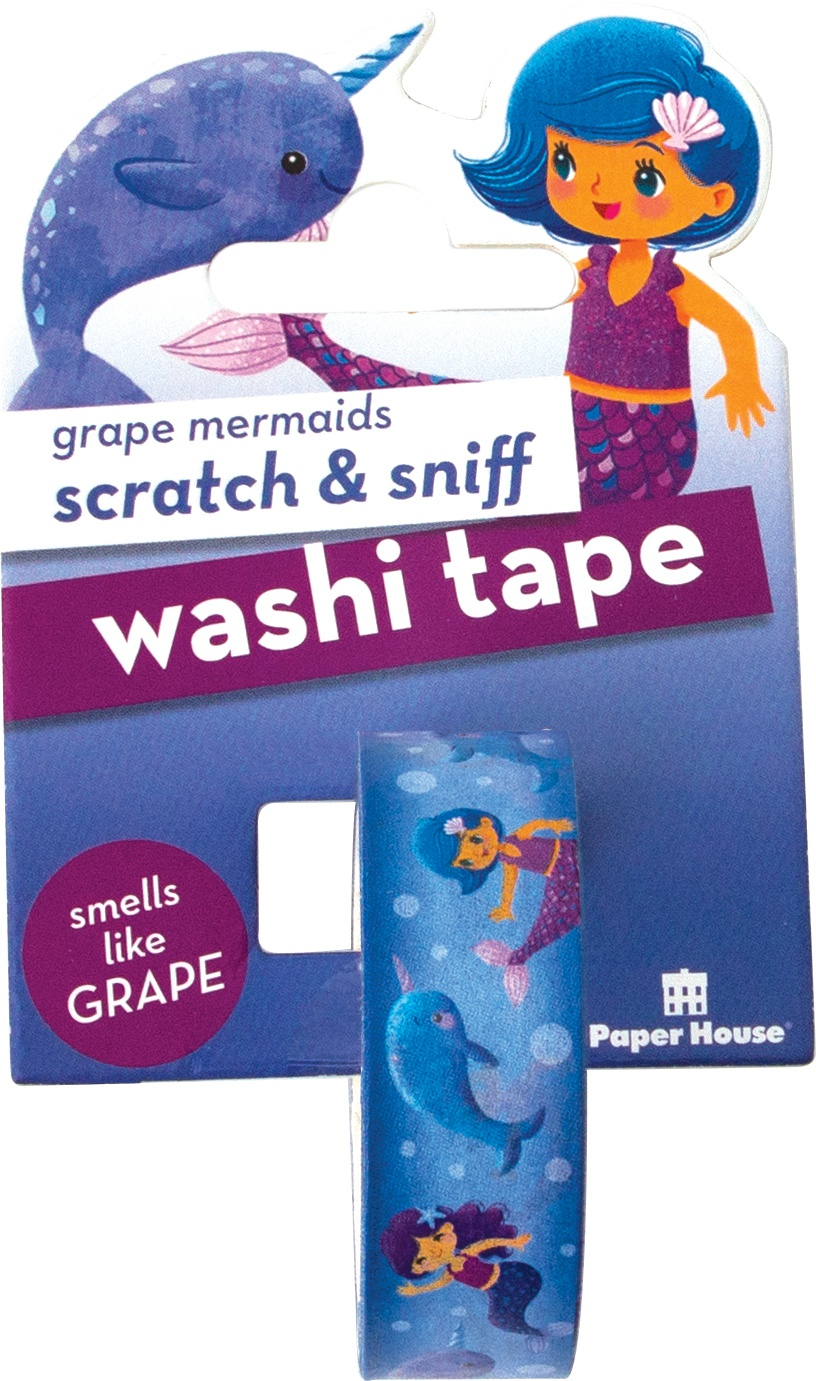 Paper House Scratch & Sniff Washi Tape-Grape Mermaids, 15mmX8m