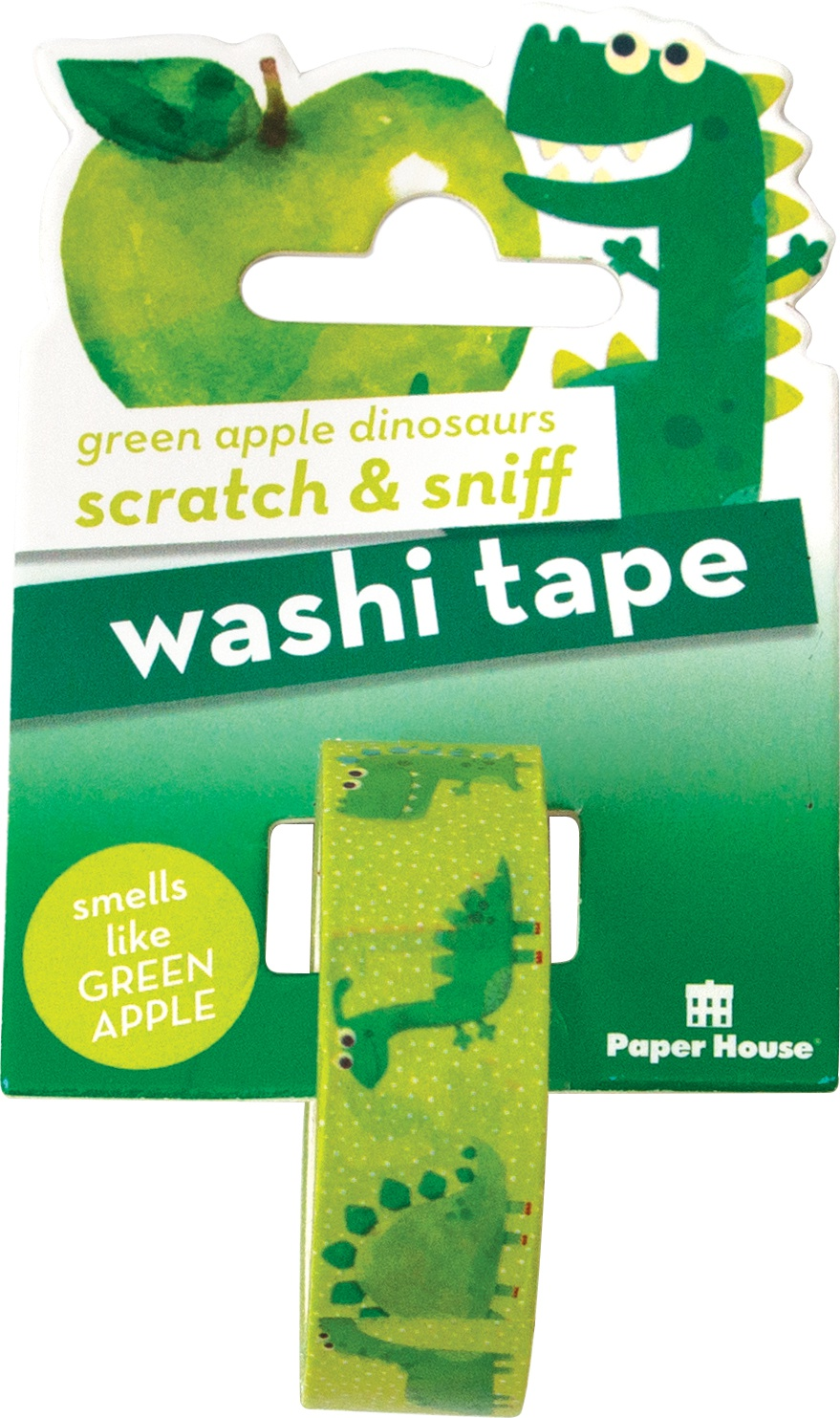 Paper House Scratch & Sniff Washi Tape-Green Apple Dinosaurs, 15mmX8m
