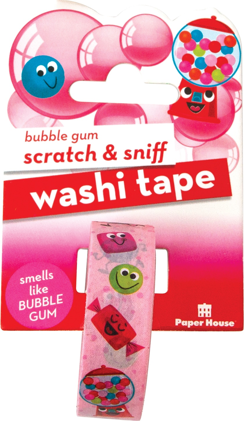 Paper House Scratch & Sniff Washi Tape-Bubble Gum, 15mmX8m