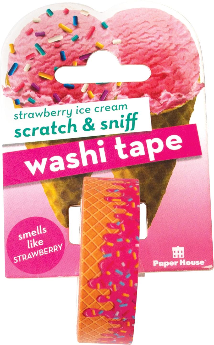 Paper House Scratch & Sniff Washi Tape-Strawberry Ice Cream, 15mmX8m