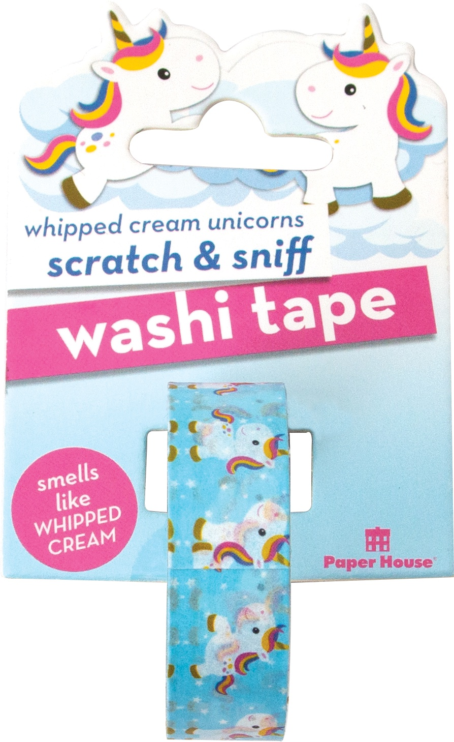 Paper House Scratch & Sniff Washi Tape-Whipped Cream Unicorn, 15mmX8m