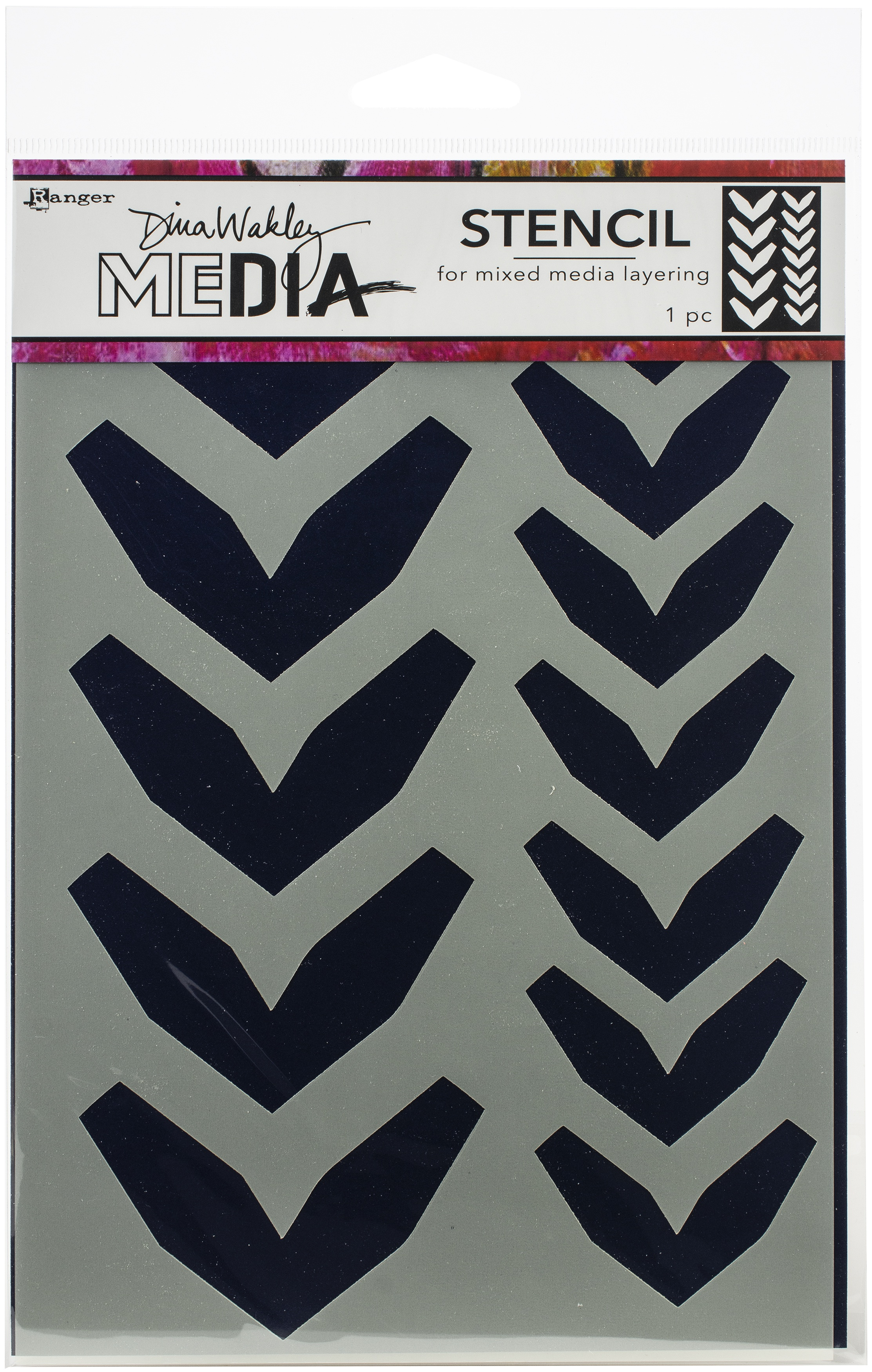 Dina Wakley Media Stencils 9X6-Large Fractured Chevrons