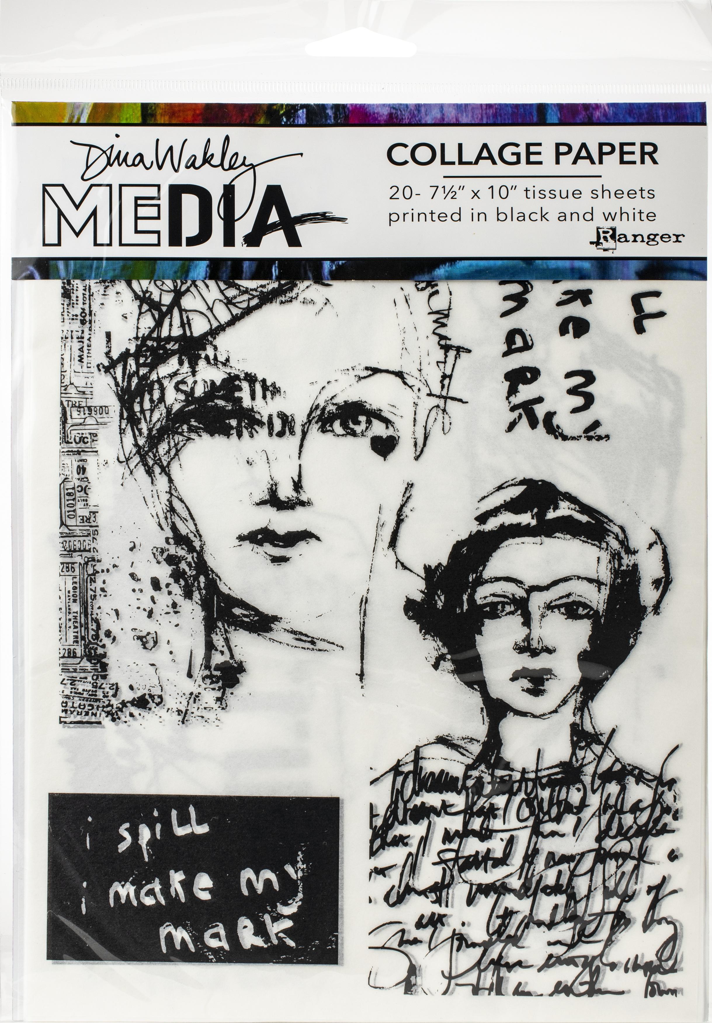 Dina Wakley Media Collage Tissue Paper 7.5X10 20/Pkg-Vintage & Sketches