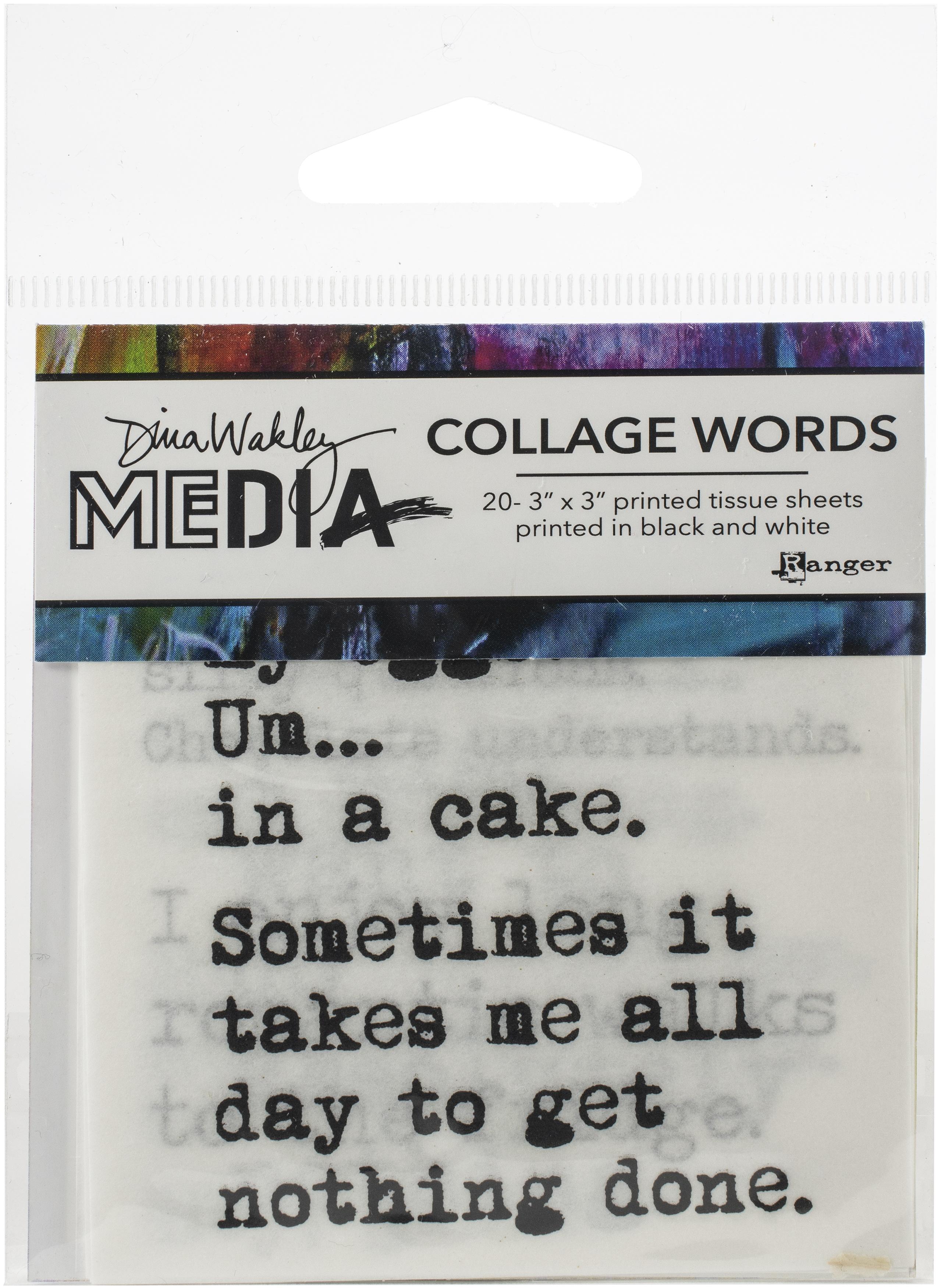 Dina Wakley Media Collage Word Pack 3X3 20/Pkg-#3