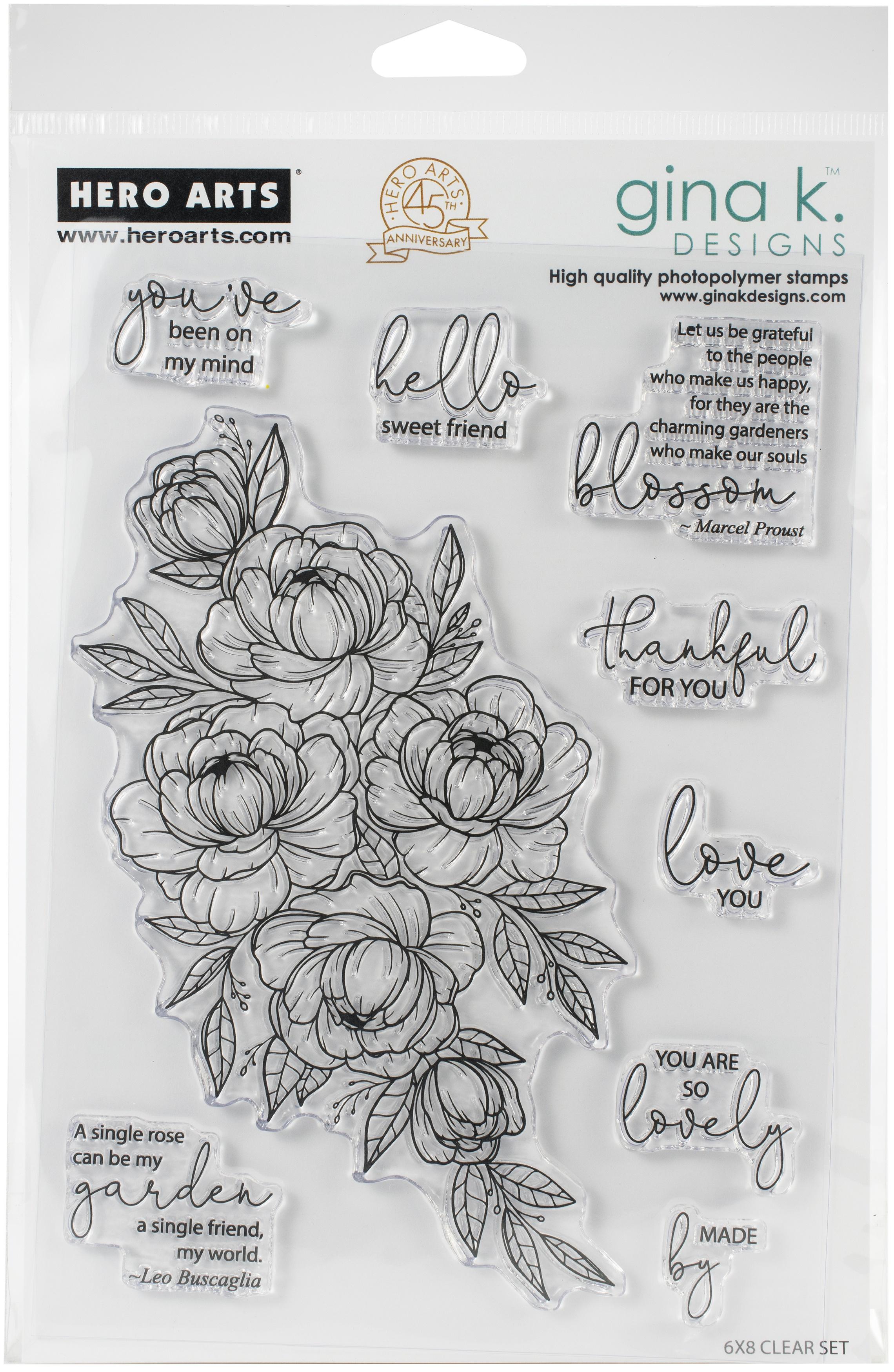 Hero Arts + Gina K - Friendship Blooms Stamp Set